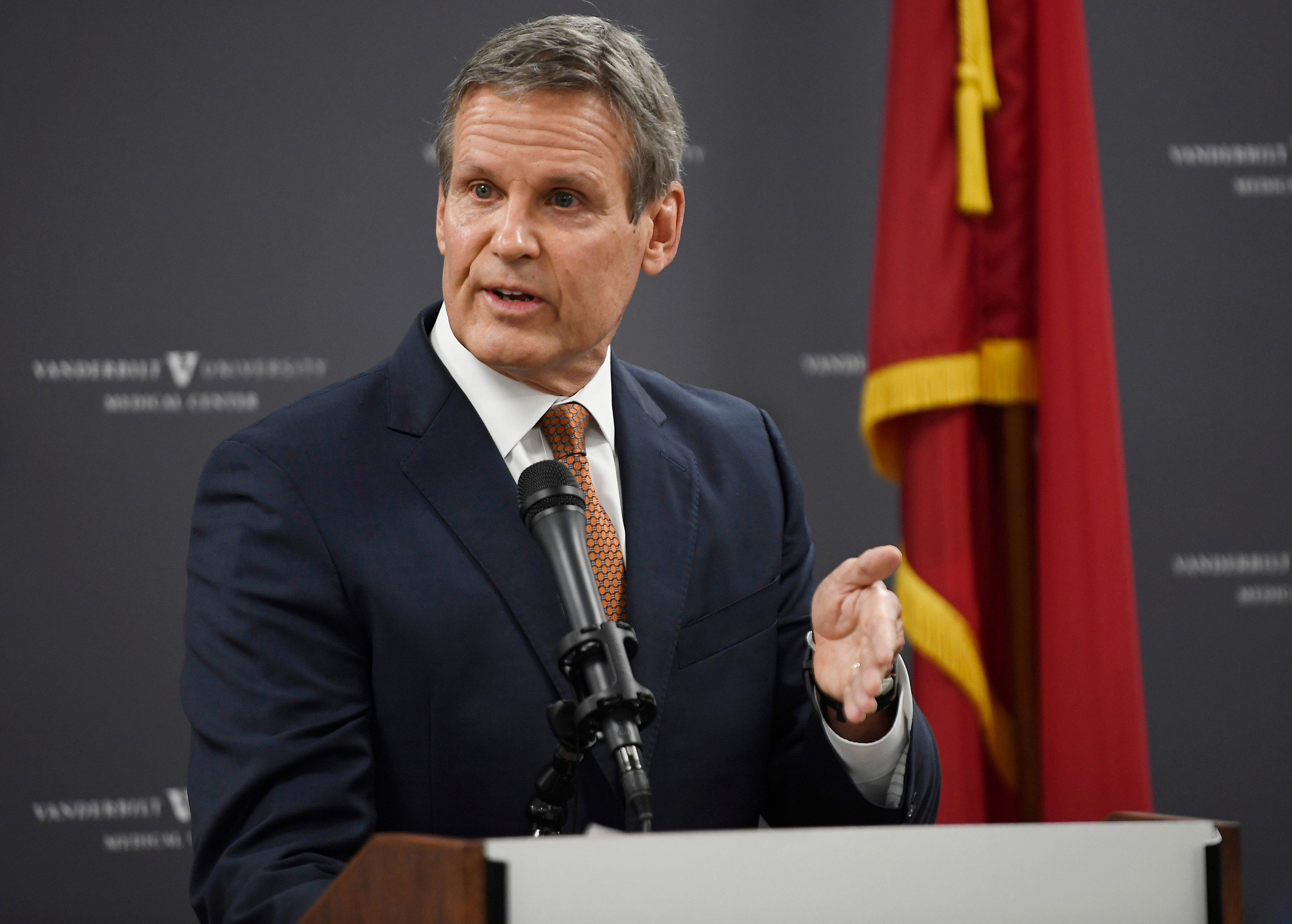 Tennessee Gov. Bill Lee speaks at a press conference in Nashville on December 17.