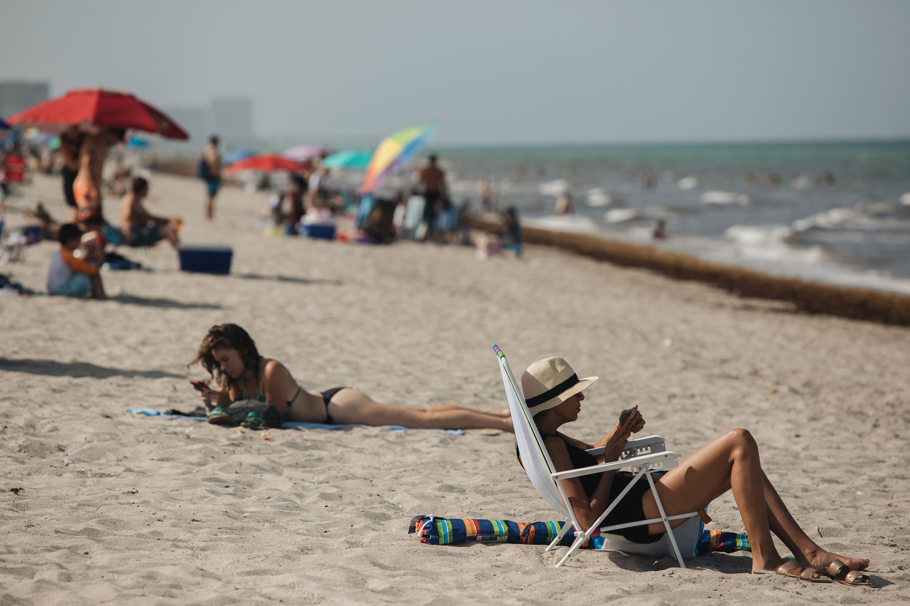 Beachgoers in Hollywood, Florida, on June 25.