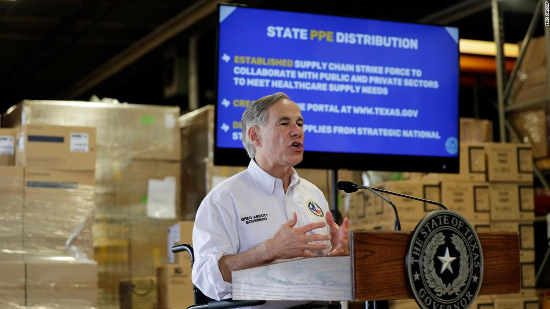 Texas Gov. Greg Abbott gives an update on the Covid-19 outbreak while at the Texas Department of Public Safety warehouse facility in Austin, Texas, on April 6.