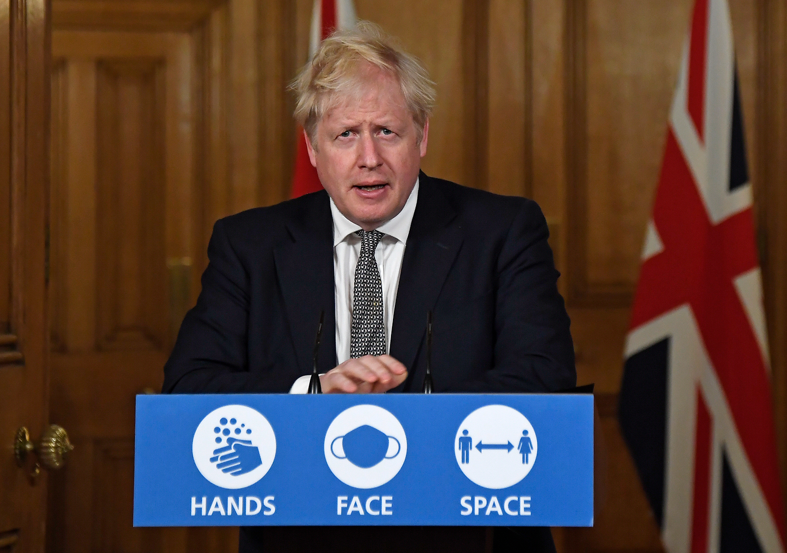 Britain's Prime Minister Boris Johnson speaks during a press conference in 10 Downing Street  in London, on October 31.