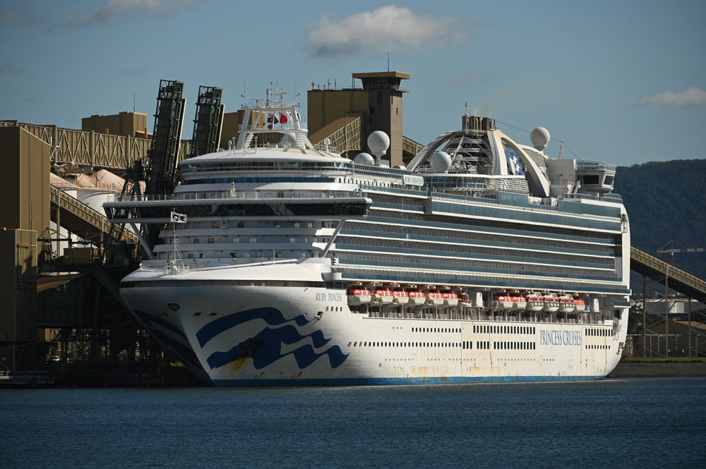 Cruise liner Ruby Princess sits in the harbour of Port Kembla after coming in to refuel and restock on April 6.