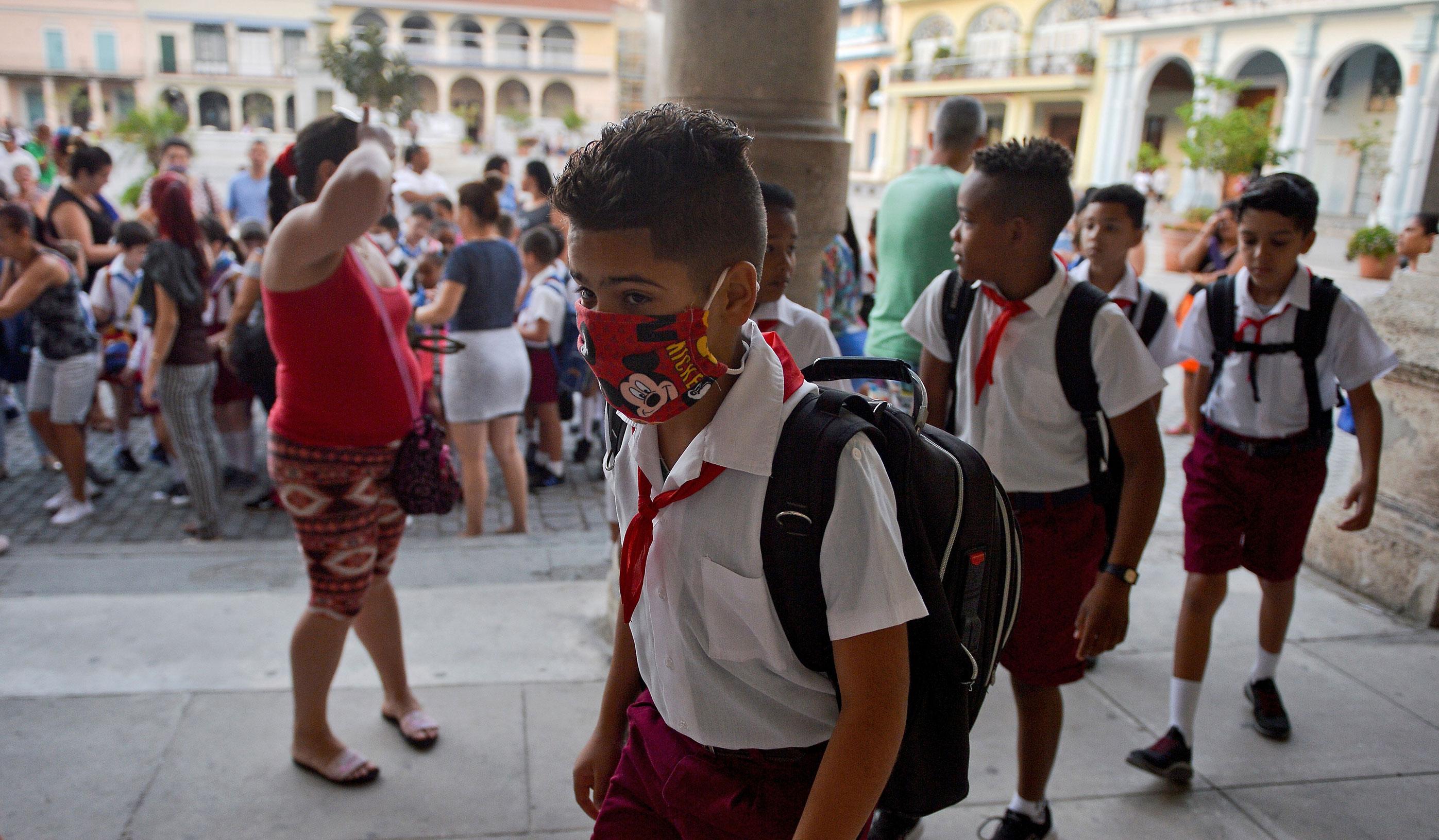 Students attend school in Havana, Cuba on March 16.
