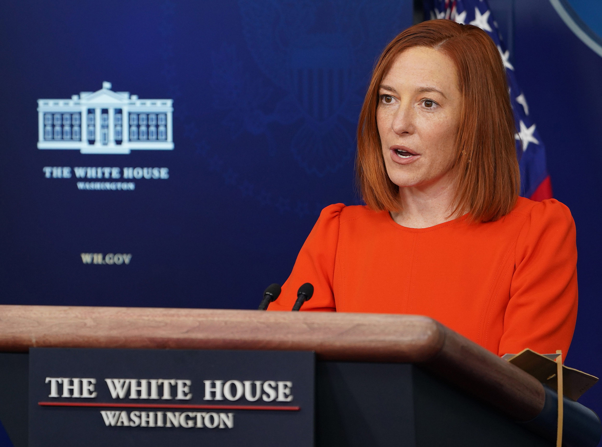 White House Press Secretary Jen Psaki speaks during a briefing at the White House in Washington, DC, on January 21.