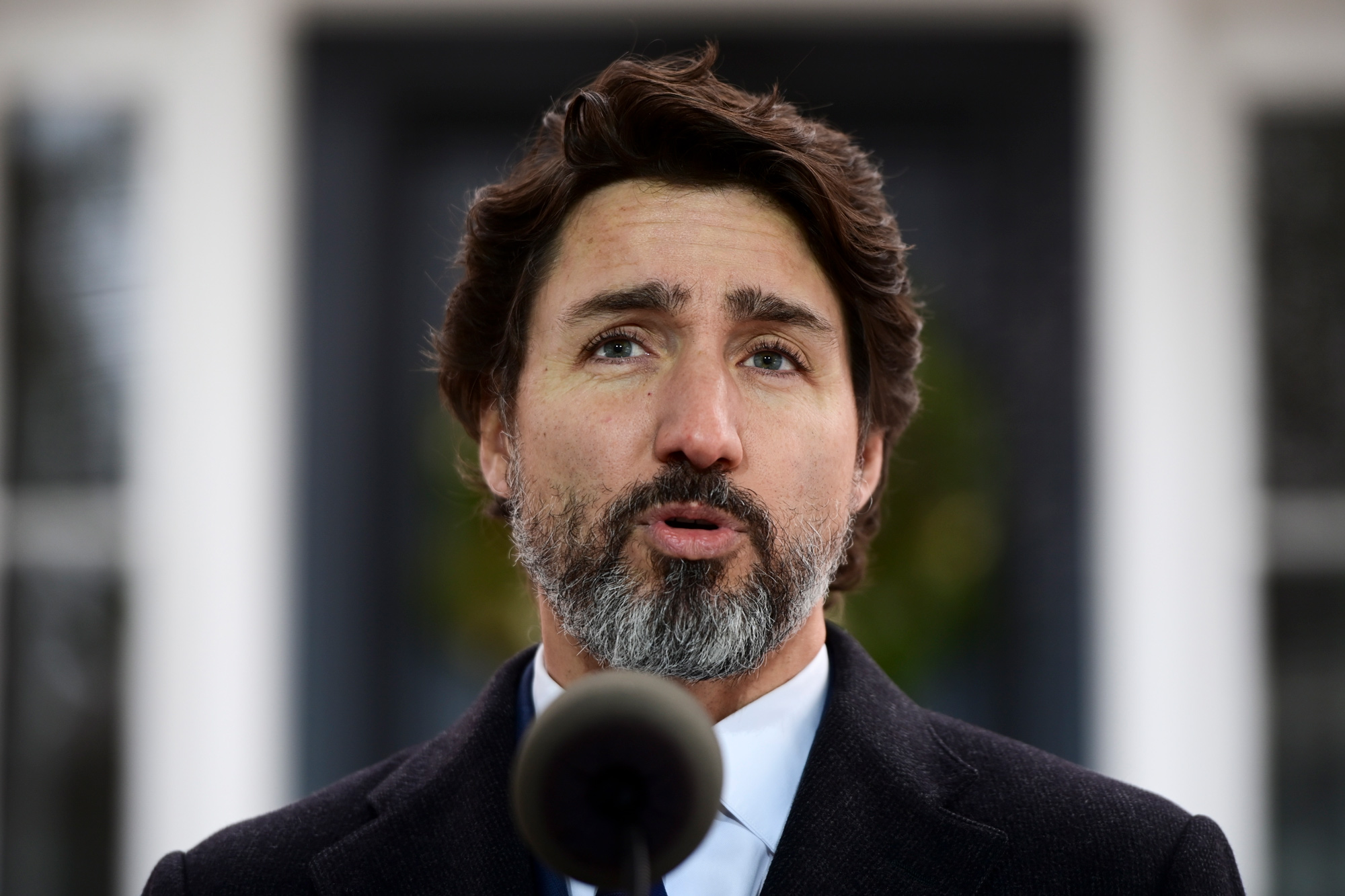 Prime Minister Justin Trudeau holds a press conference at Rideau Cottage in Ottawa on December 1.
