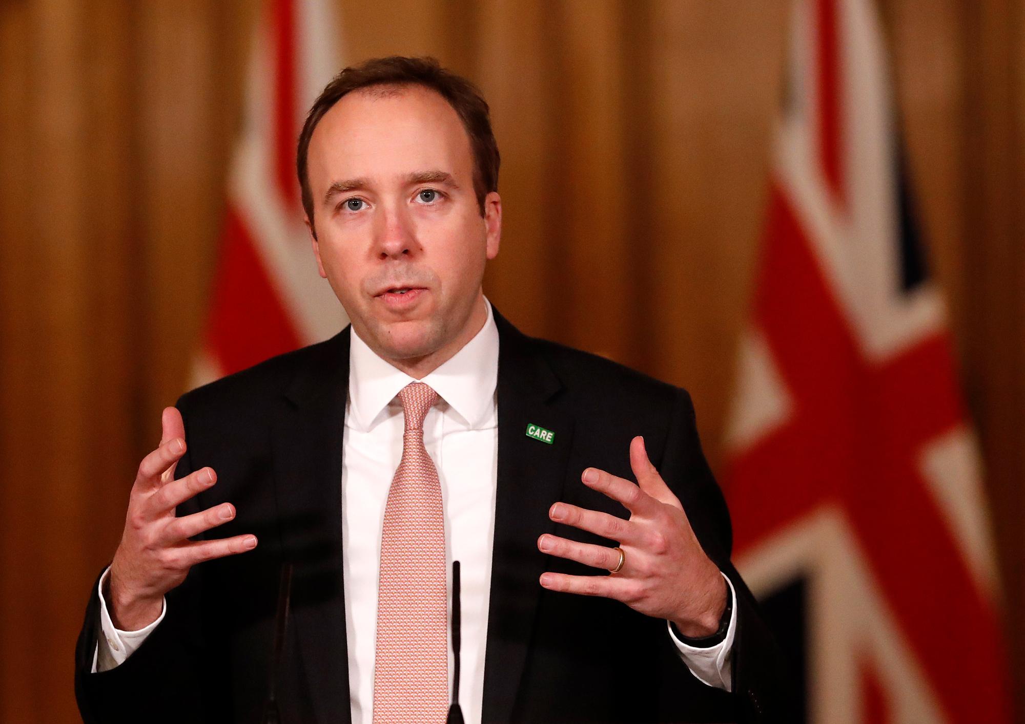 British Health Secretary Matt Hancock speaks at a coronavirus press conference inside 10 Downing Street on January 11 in London.