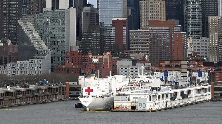 The USNS Comfort navy hospital ship sits at Pier 90 on Thursday, April 2, in New York City.
