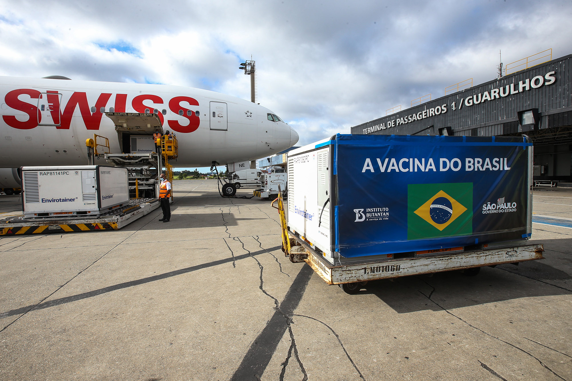 A container with CoronaVac vaccines developed by China's Sinovac in partnership with the Butantan Institute arrived from China in Sao Paulo on December 30, 2020.
