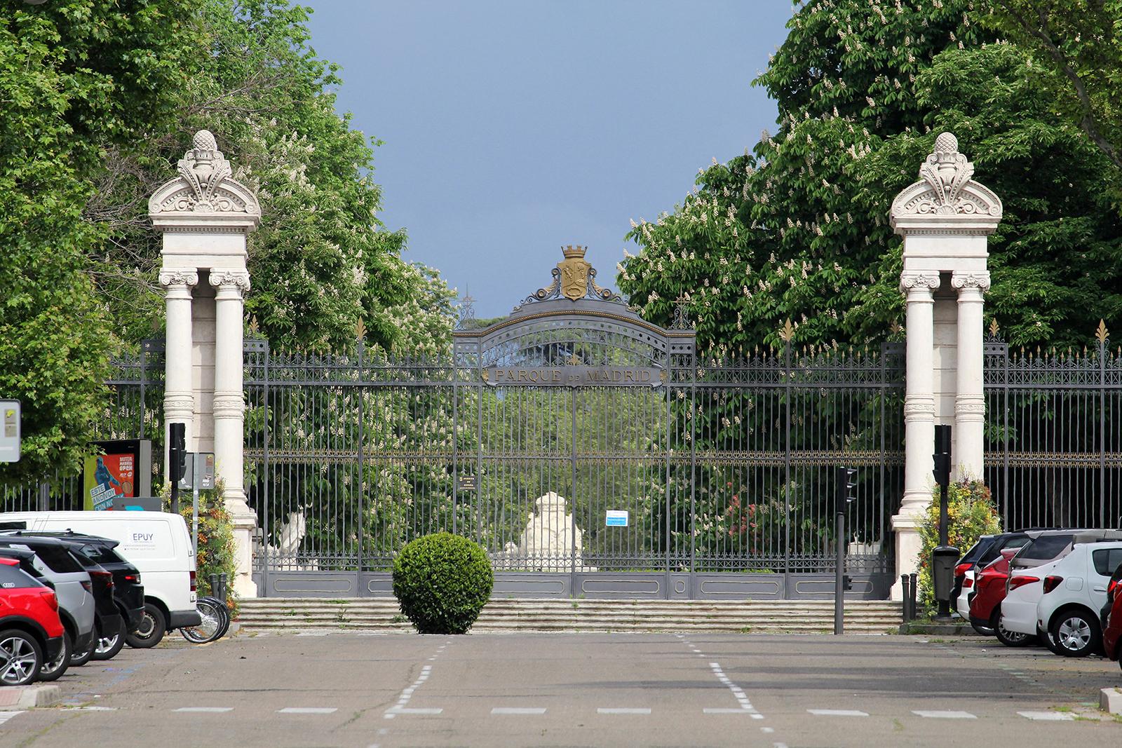 The closed gates of Madrid's El Retiro Park are seen on Monday, April 27.
