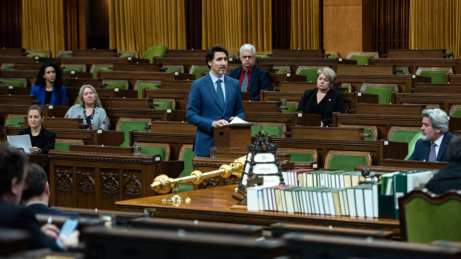 Prime Minister Justin Trudeau speaks in the House of Commons in Ottawa as Parliament was recalled to consider measures related to the Covid-19 pandemic on April 11.