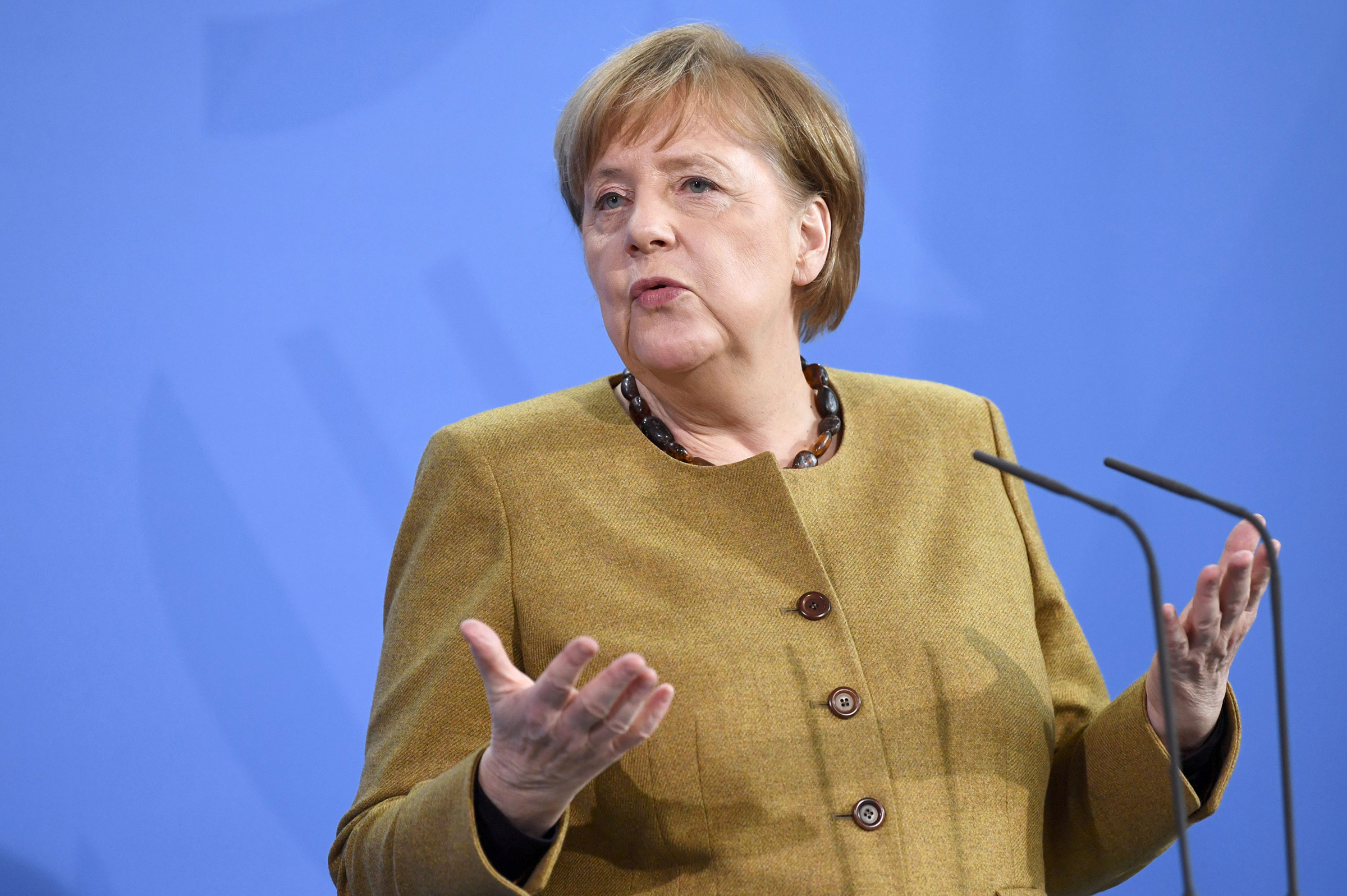 German Chancellor Angela Merkel speaks during a press conference in Berlin, on February 19.