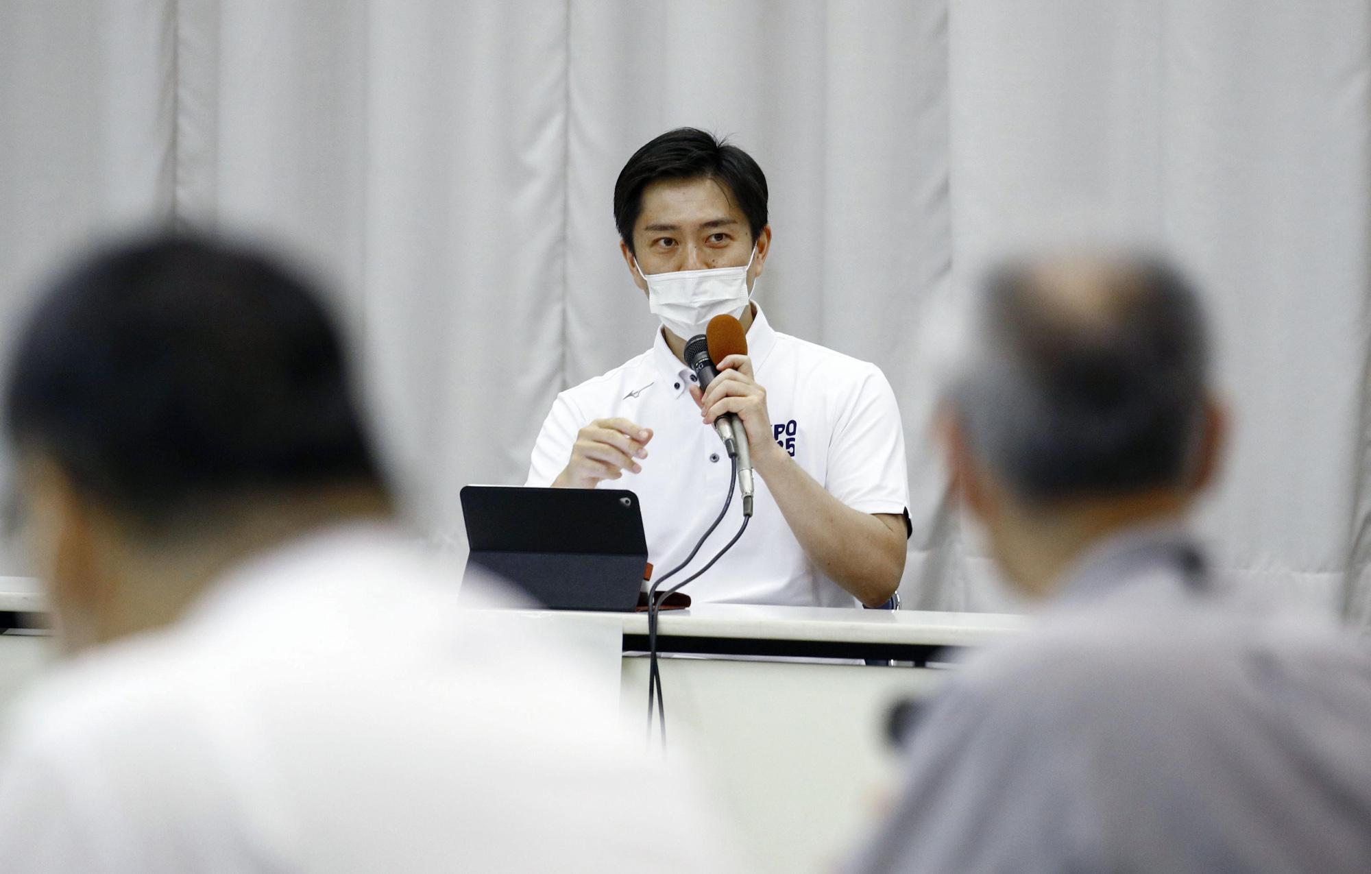 Osaka Gov. Hirofumi Yoshimura speaks during an anti-coronavirus taskforce meeting of the western Japan prefectural government on July 28 in Osaka, Japan.