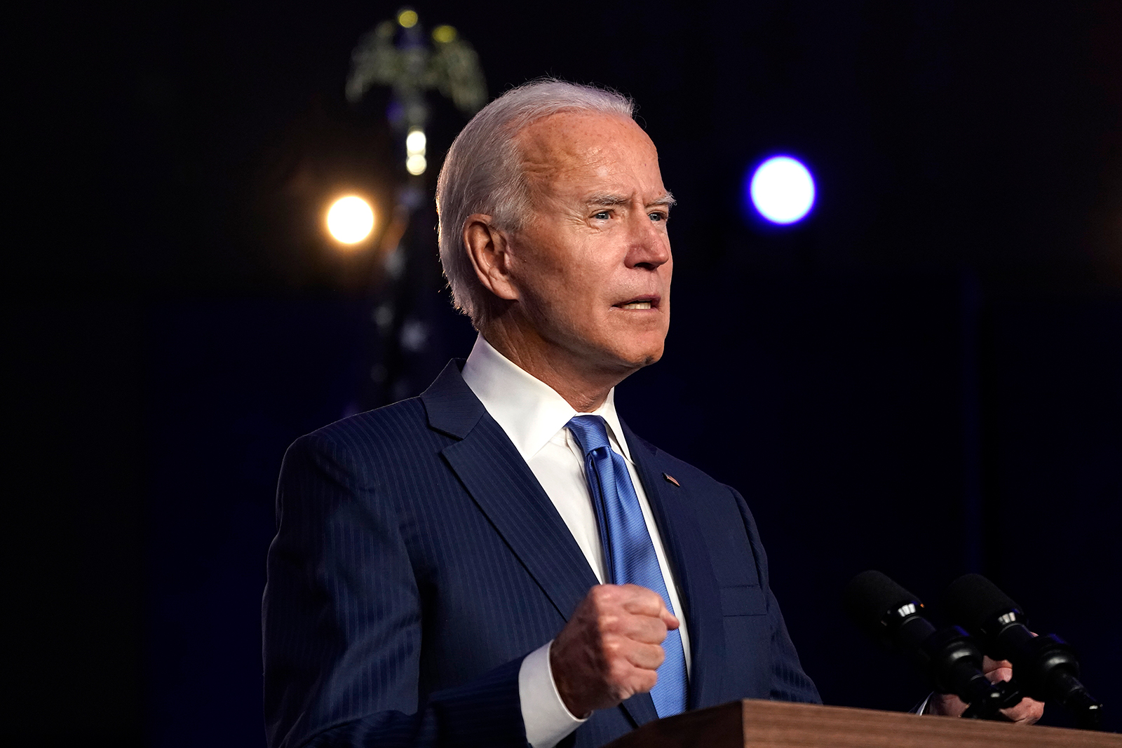Democratic presidential nominee Joe Biden addresses the nation at the Chase Center November 6, in Wilmington, Delaware.