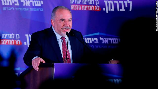 Avigdor Liberman, leader of Yisrael Beiteinu, gives an address at the party's electoral headquarters in Jerusalem late Tuesday. (Jalaa Marey/AFP/Getty Images)
