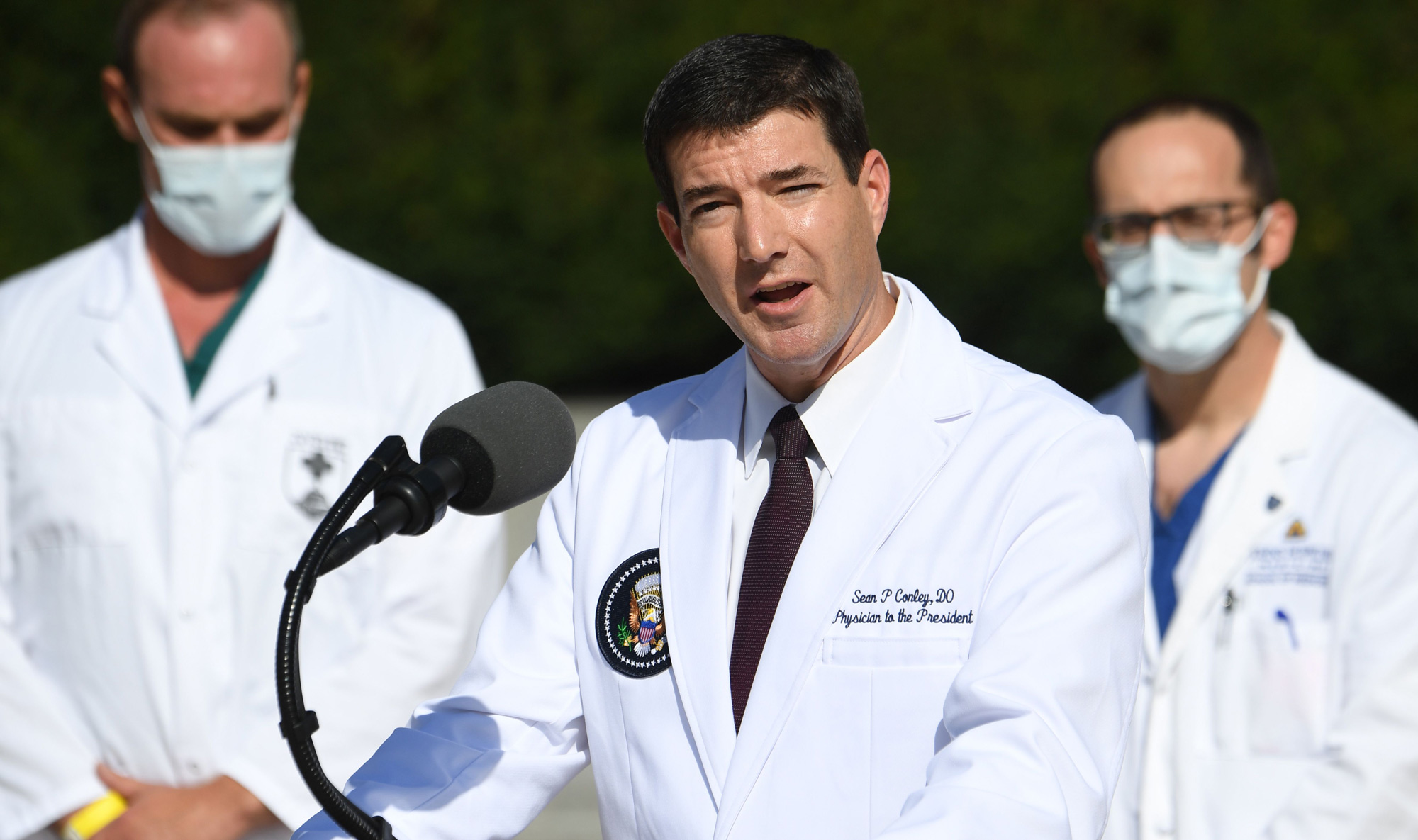 White House physician Dr. Sean Conley speaks on October 5 at Walter Reed Medical Center in Bethesda, Maryland.