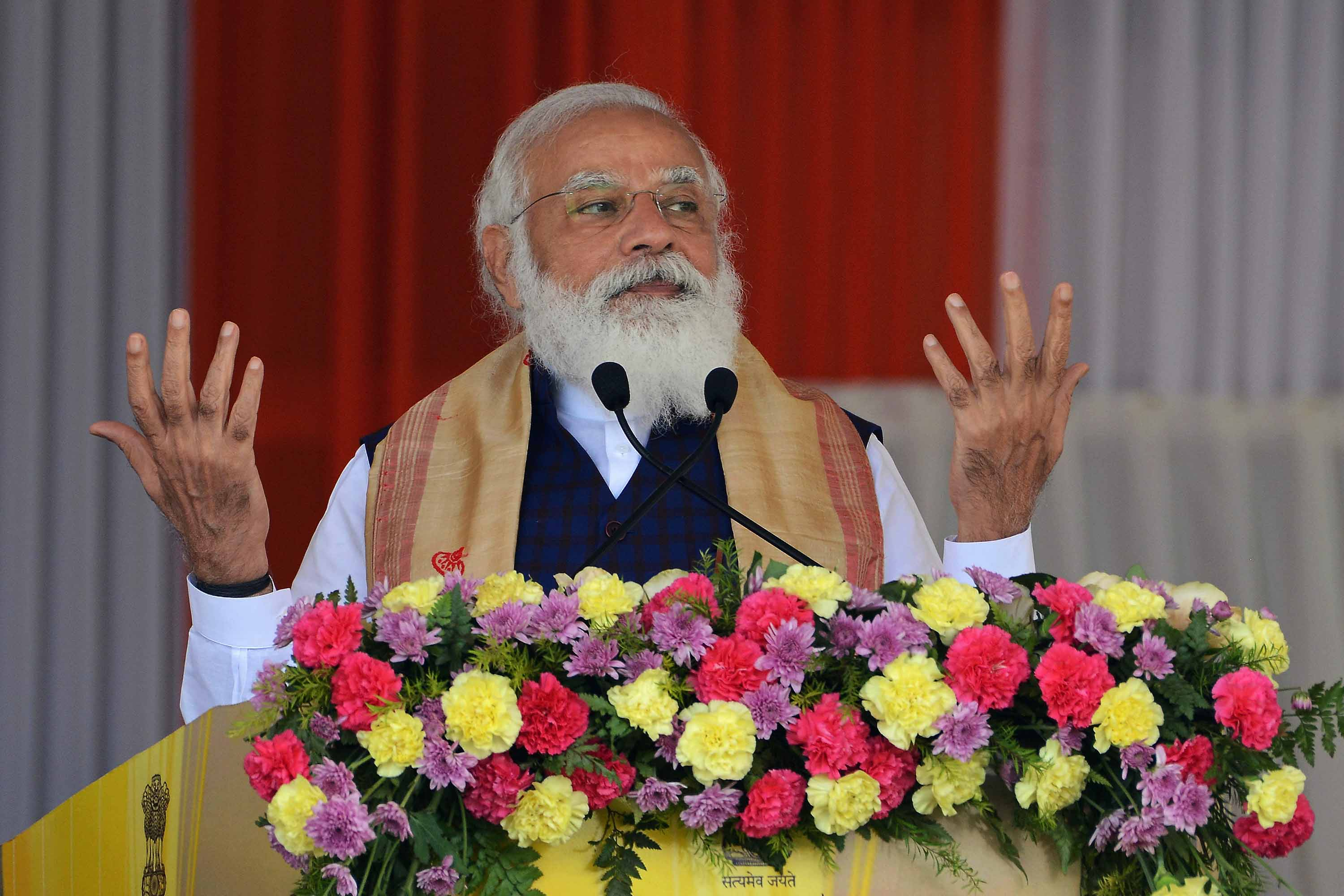 Indian Prime Minister Narendra Modi is pictured during a public meeting in Sivasagar district of India's Assam state, on January 23.