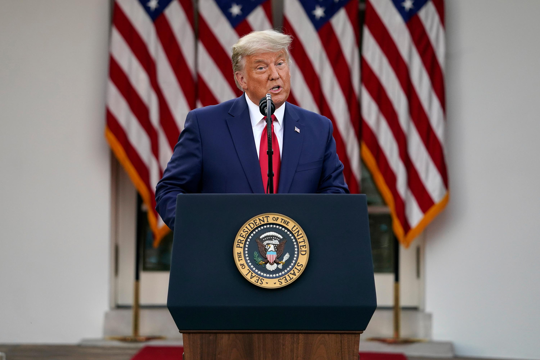 President Donald Trump speaks in the Rose Garden of the White House on Friday, November 13 in Washington, DC.