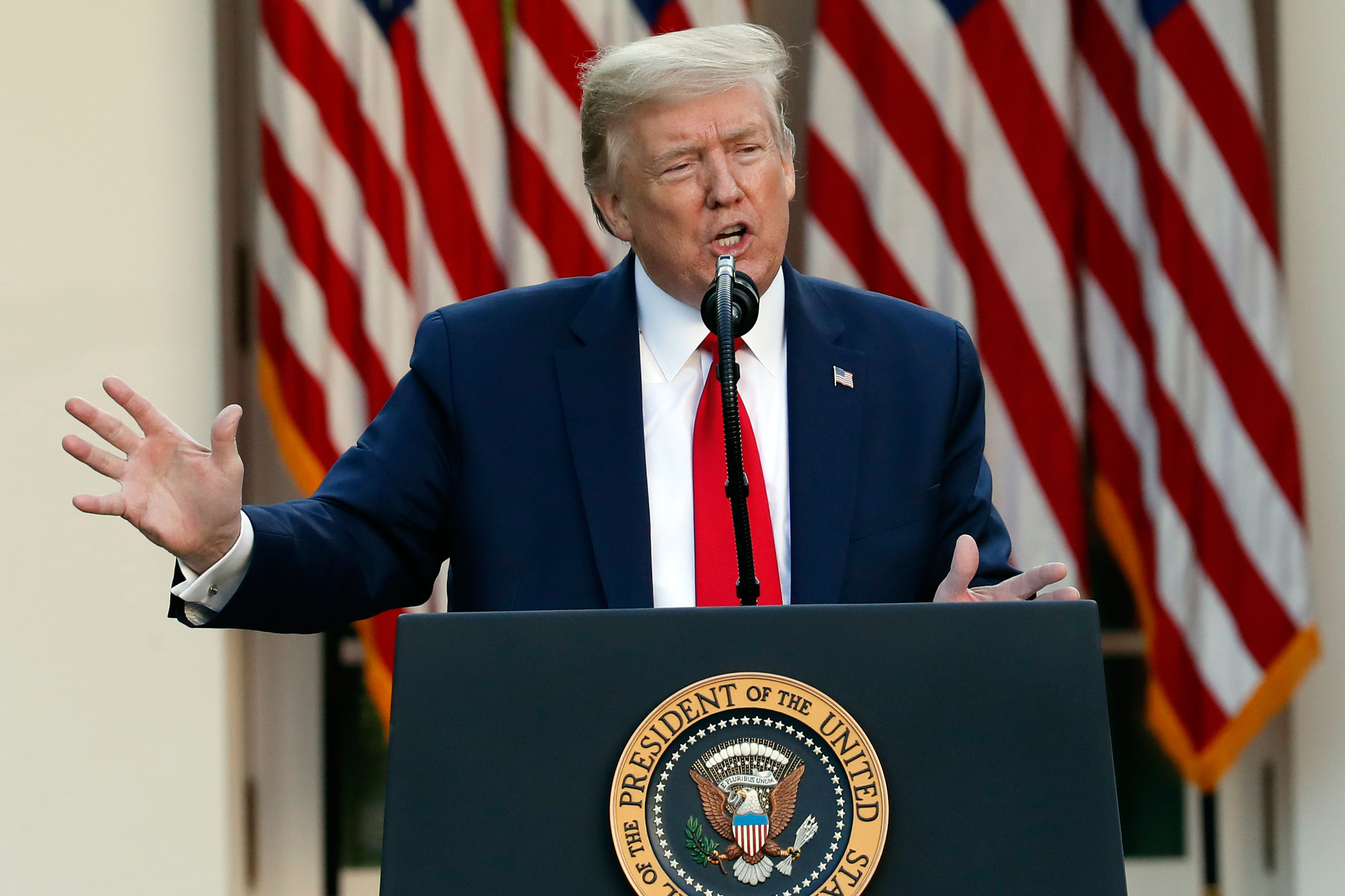 US President Donald Trump speaks at a news briefing in the Rose Garden of the White House on April 27 in Washington.