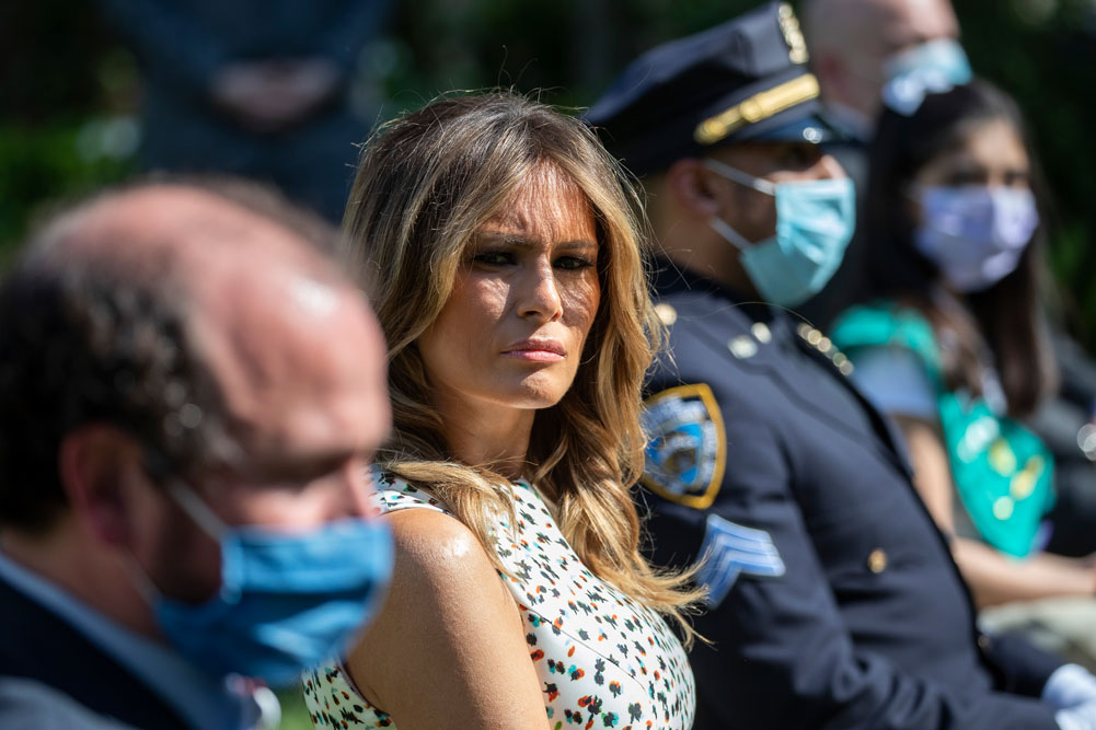 First lady Melania Trump is seated as President Donald Trump speaks during a presidential recognition ceremony in the Rose Garden of the White House on Friday, May 15, in Washington.