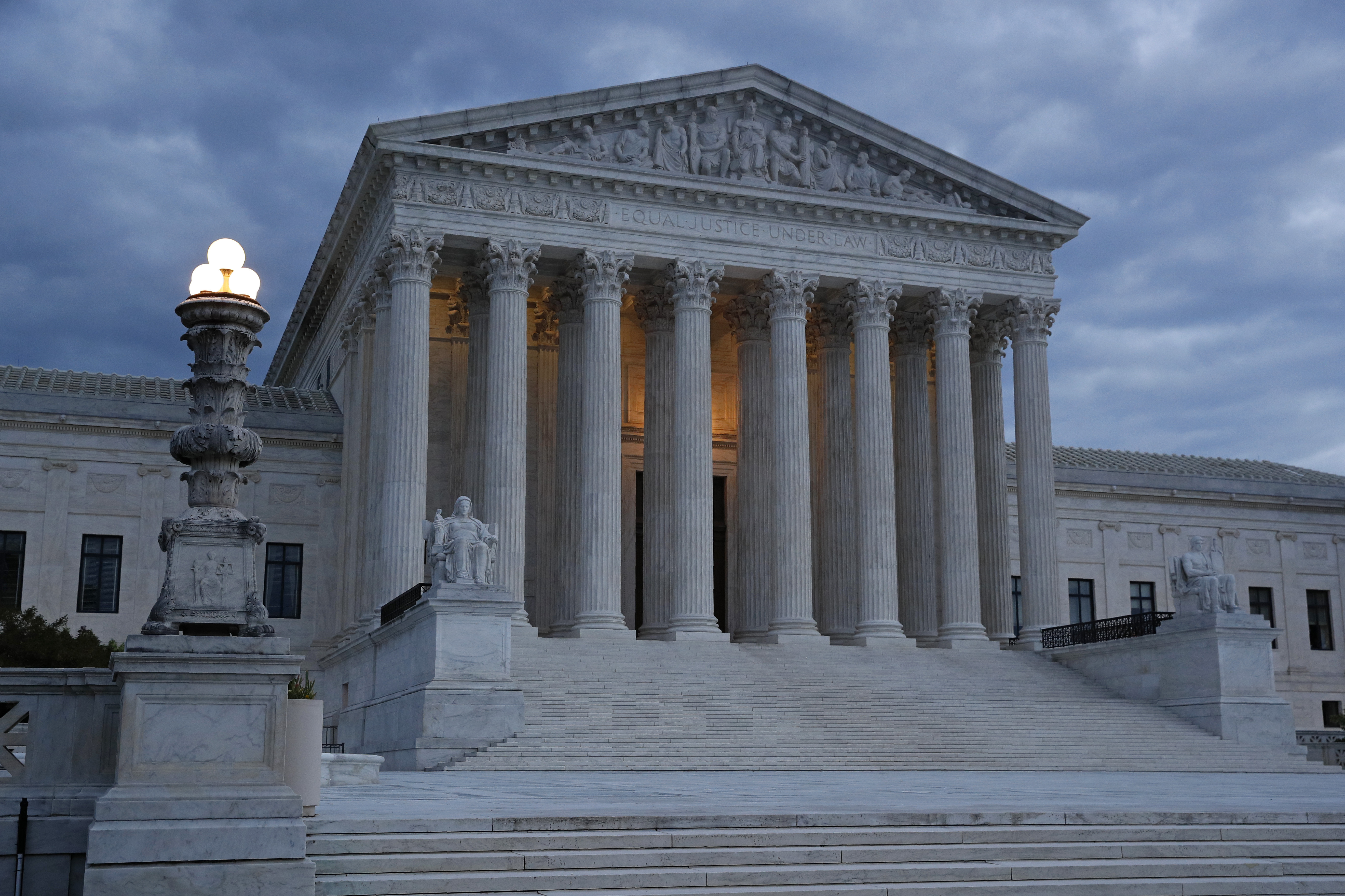 The Supreme Court is pictured at dusk on May 3 in Washington.