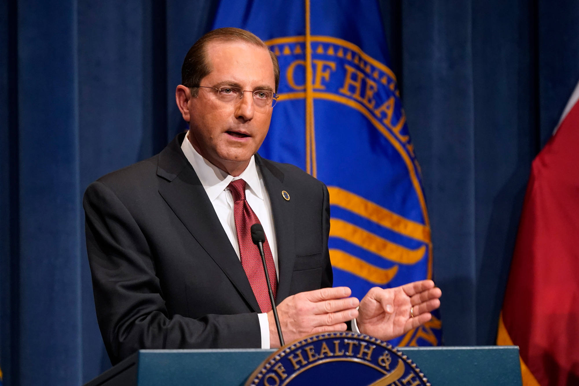 Health and Human Services Secretary Alex Azar speaks during a news conference on Operation Warp Speed and COVID-19 vaccine distribution on January 12 in Washington, DC.