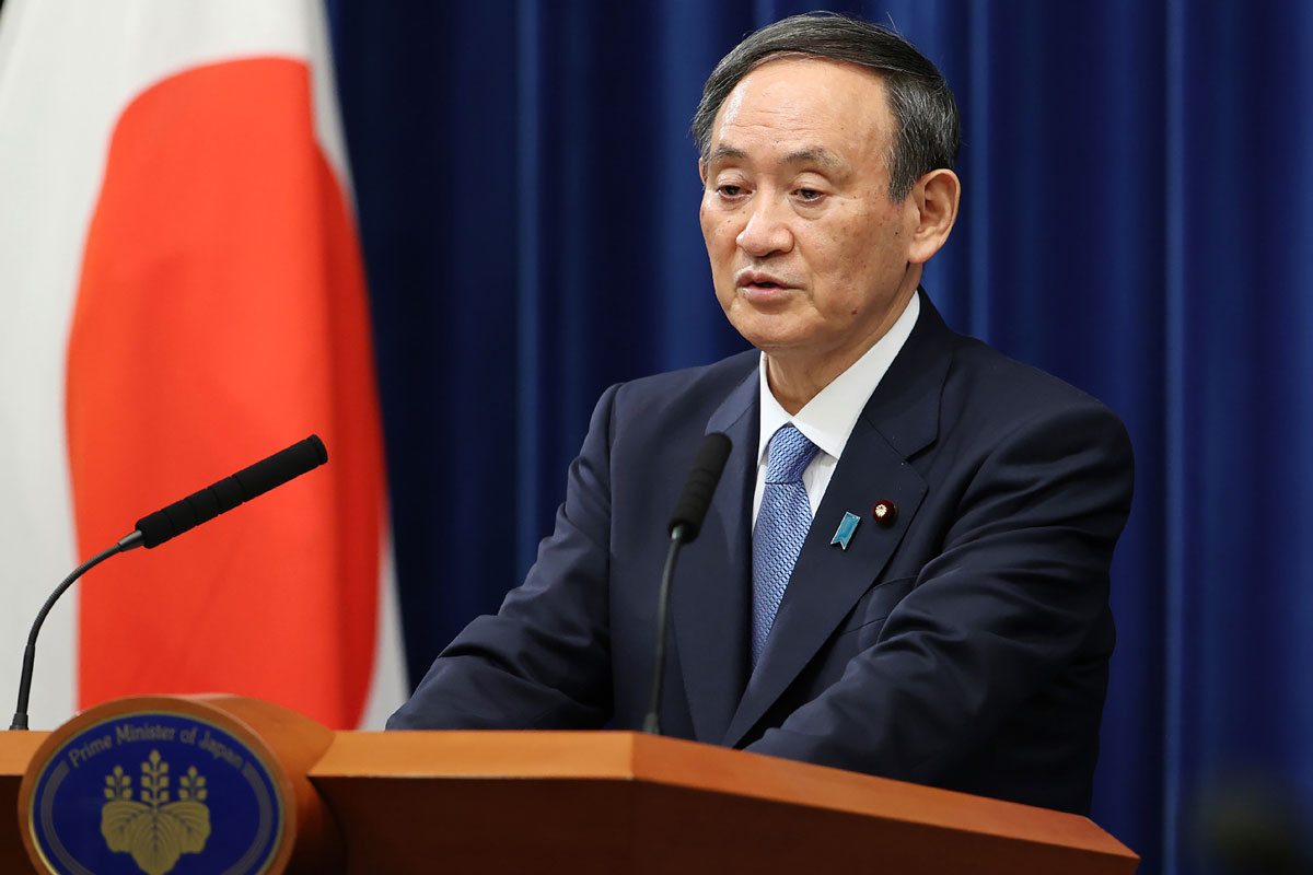 Japan's Prime Minister Yoshihide Suga speaks during a news conference in Tokyo on January 4.
