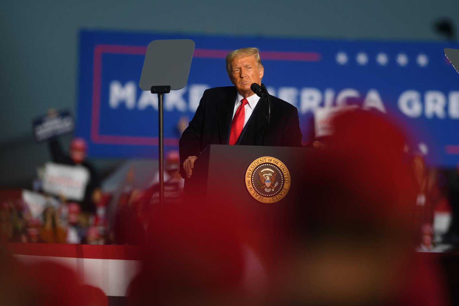 President Donald Trump speaks at a rally at iG Flight Services, in Martinsburg, Pennsylvania, on October 26.