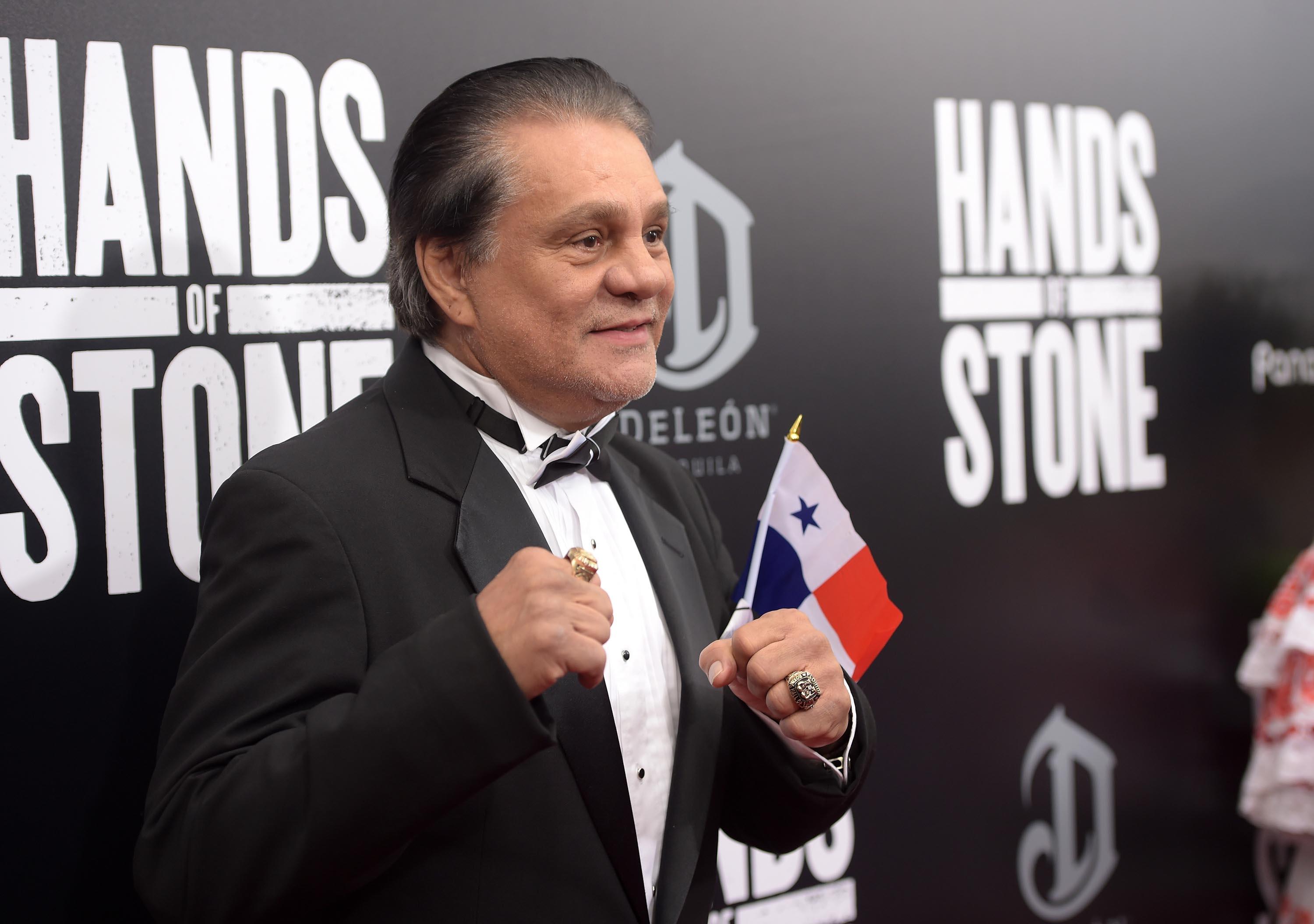 "Former professional boxer Roberto Duran attends the New York Premiere Of ""Hands Of Stone"" in August 2016."