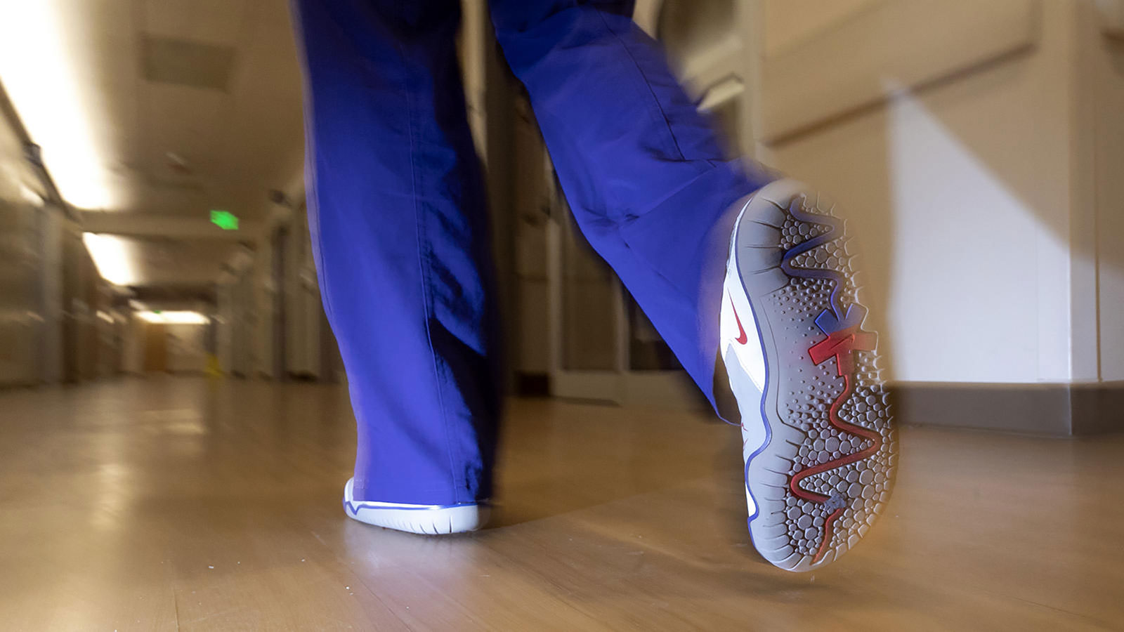 An OHSU nurse wears a version of the Air Zoom Pulse.