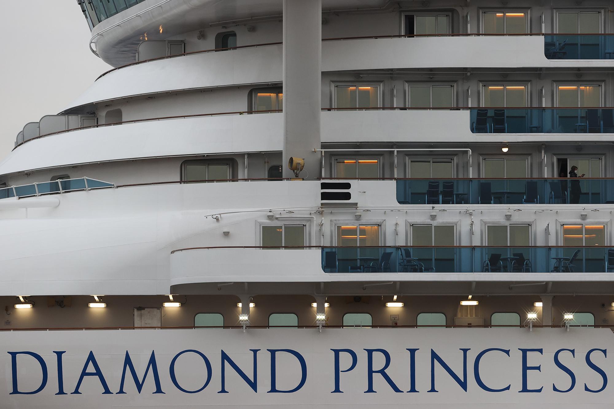 The Diamond Princess cruise ship at Daikoku Pier on February 20, in Yokohama, Japan.