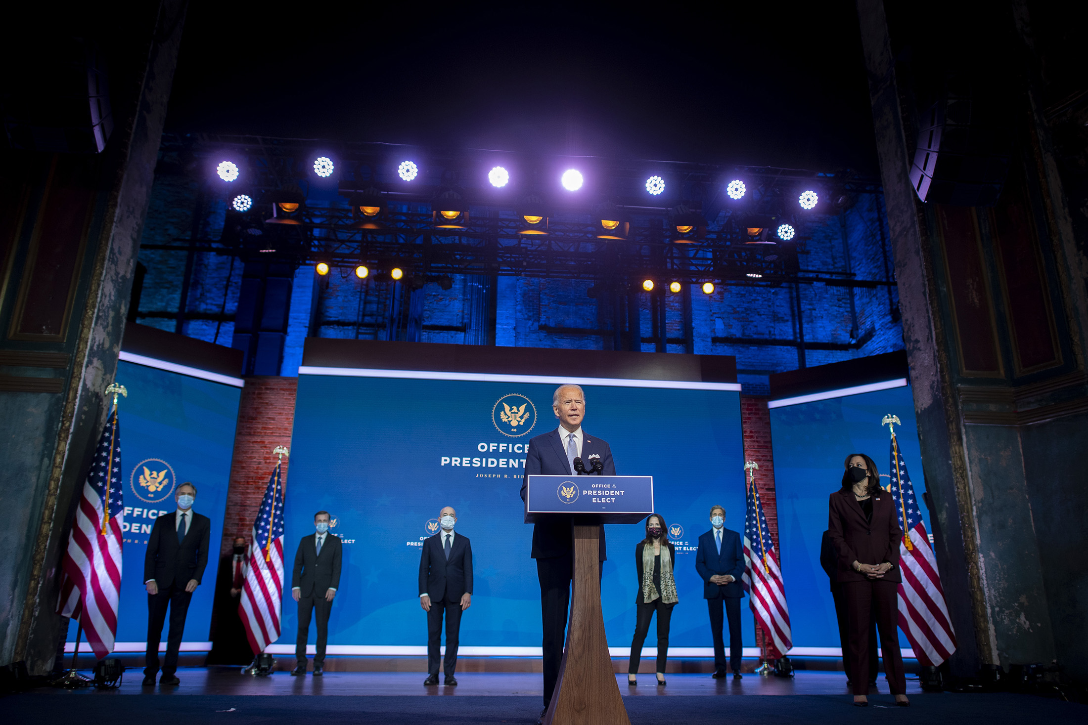 President-elect Joe Biden introduces key foreign policy and national security nominees and appointments at the Queen Theatre, on November 24, in Wilmington, Delaware.