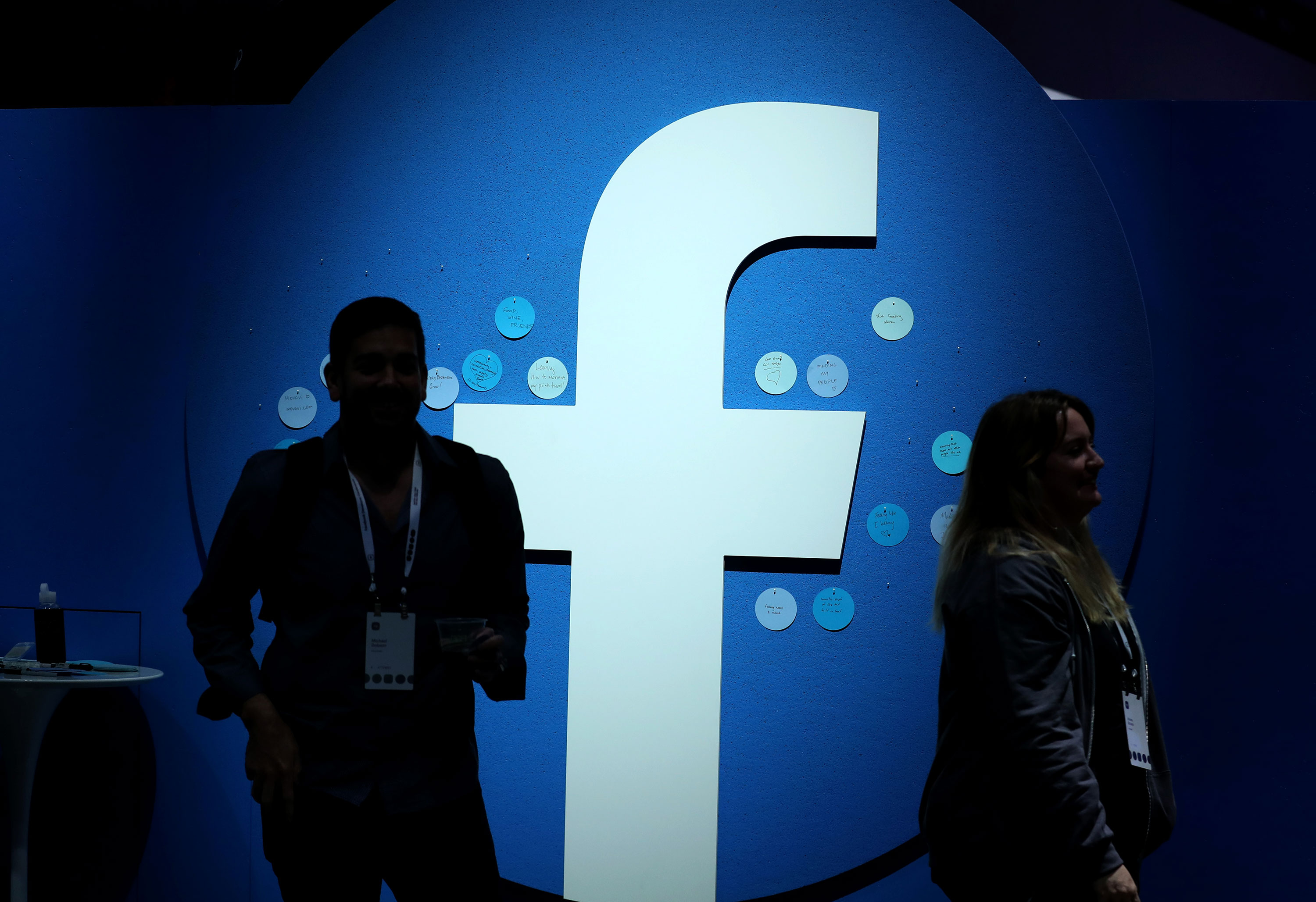 The Facebook logo is displayed at the F8 Facebook Developers conference in San Jose, California on April 30.