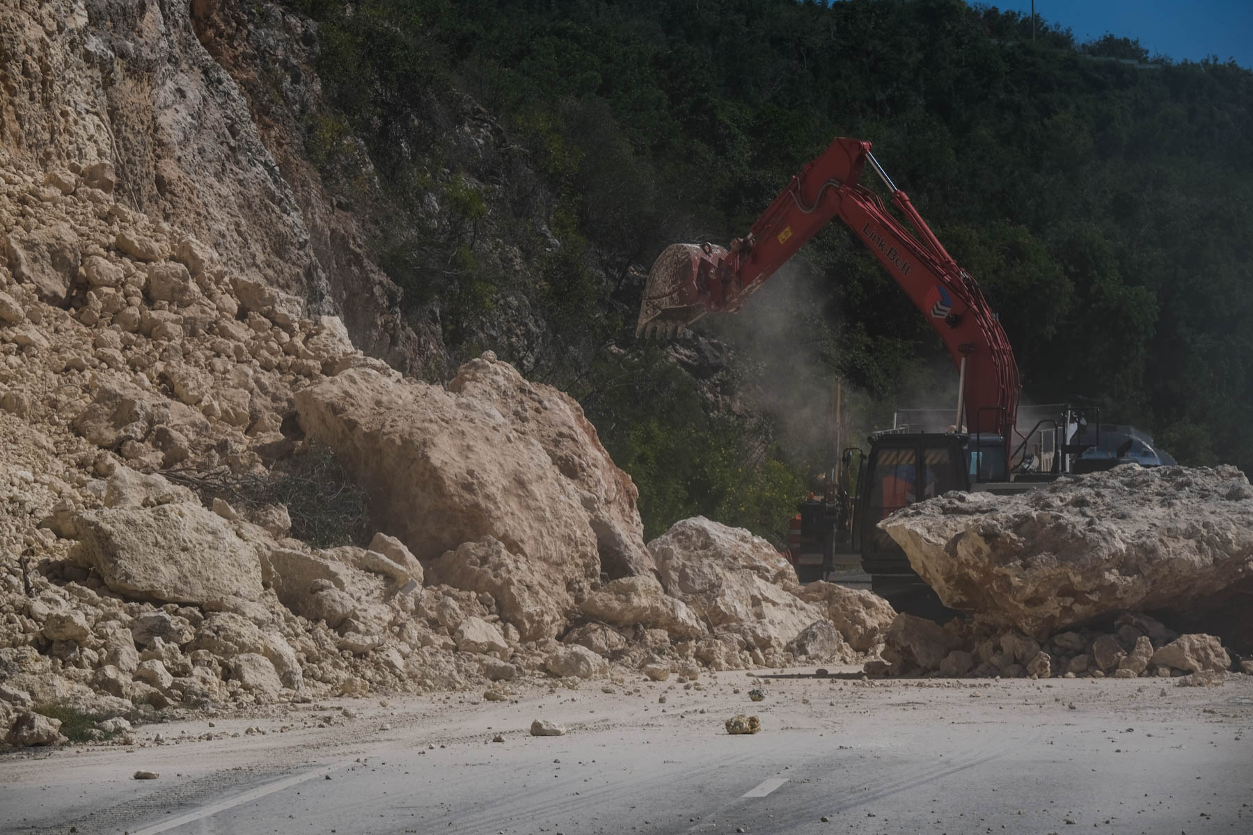 A landslide is seen on the road near El Tuque on January 7th, 2020 after two earthquakes.