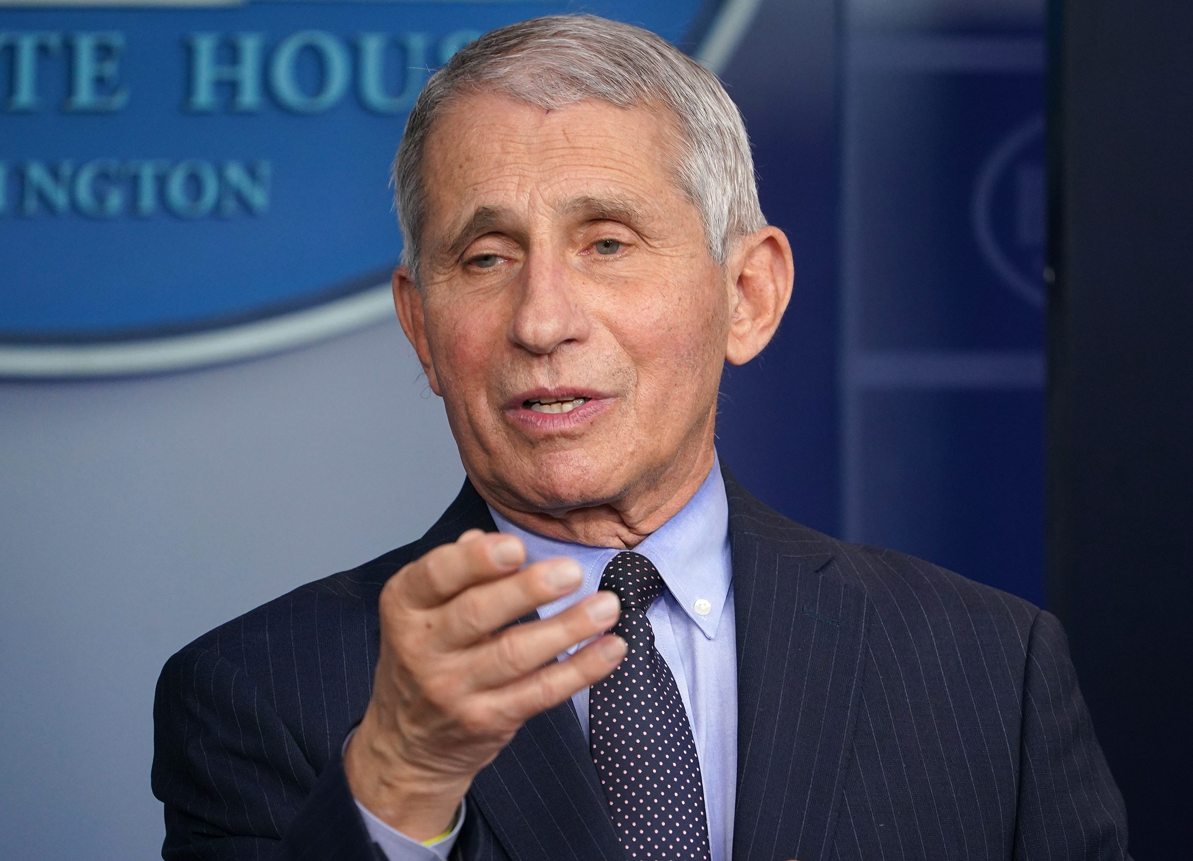 Dr. Anthony Fauci speaks during a press briefing at the White House on January 21, in Washington, DC.