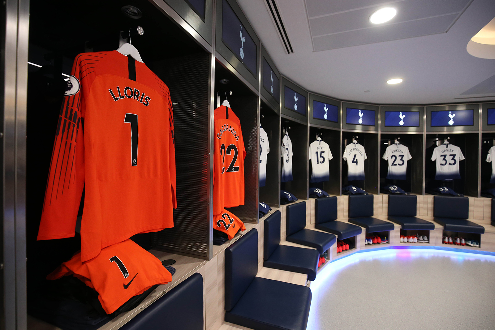 Shirts and kit on display in the Spurs dressing room prior to the Premier League match between Tottenham Hotspur and Everton FC at Tottenham Hotspur Stadium in London, on May 12, 2019.