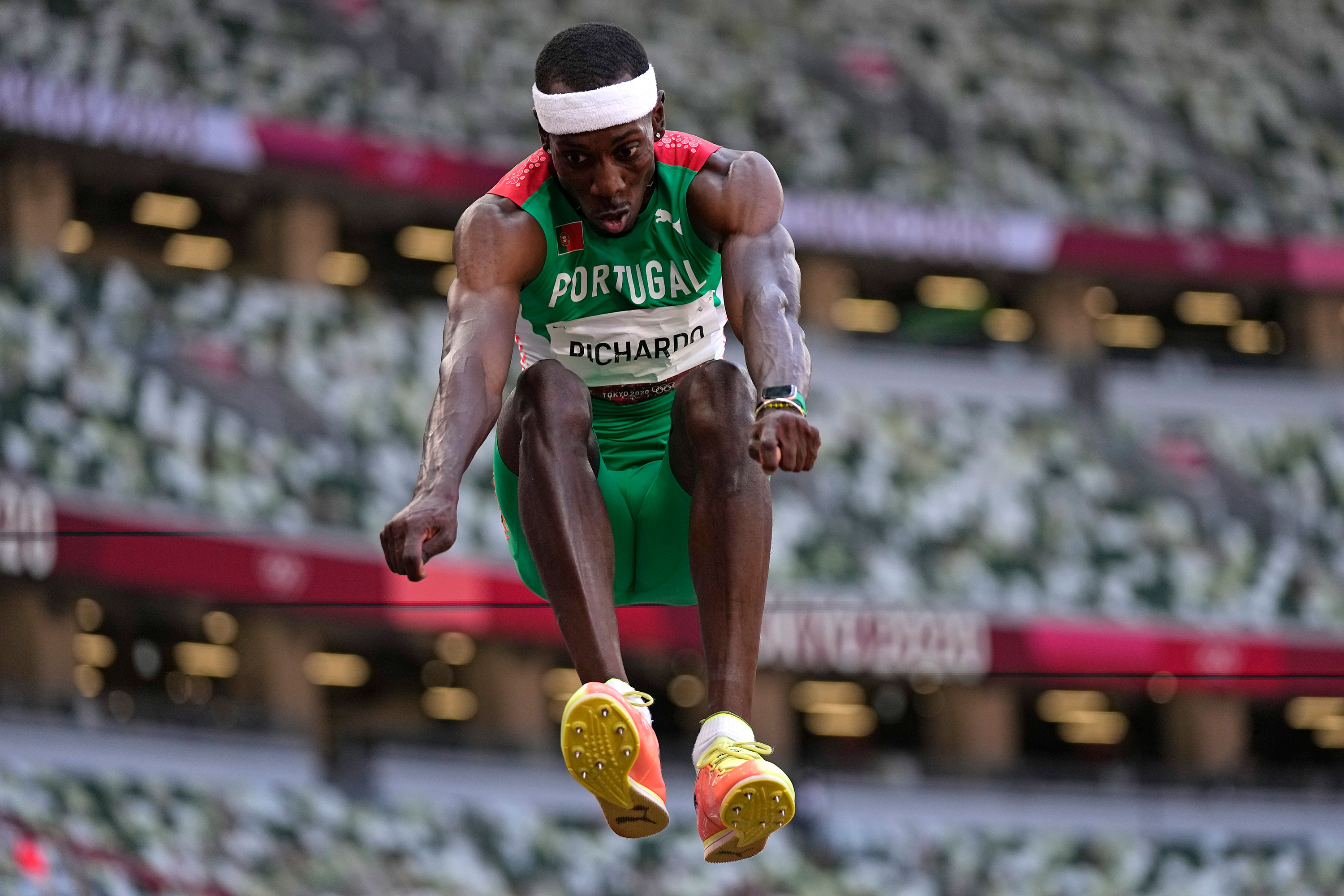 Pedro Pichardo of Portugal competes in the triple jump final on August 5.