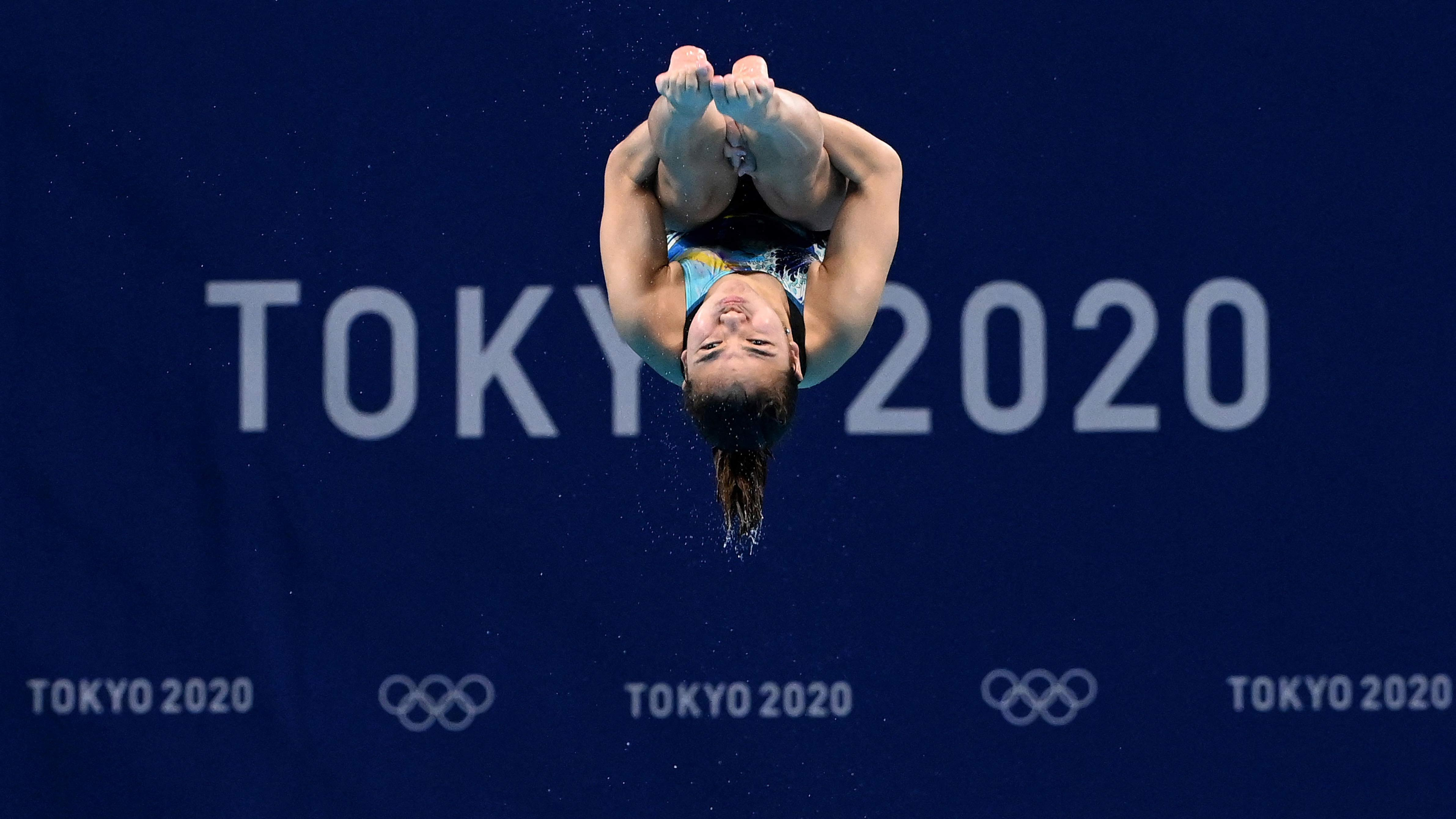 Malaysia's Sabri Nur Dhabitah competes in the 3m springboard diving final event on August 1.
