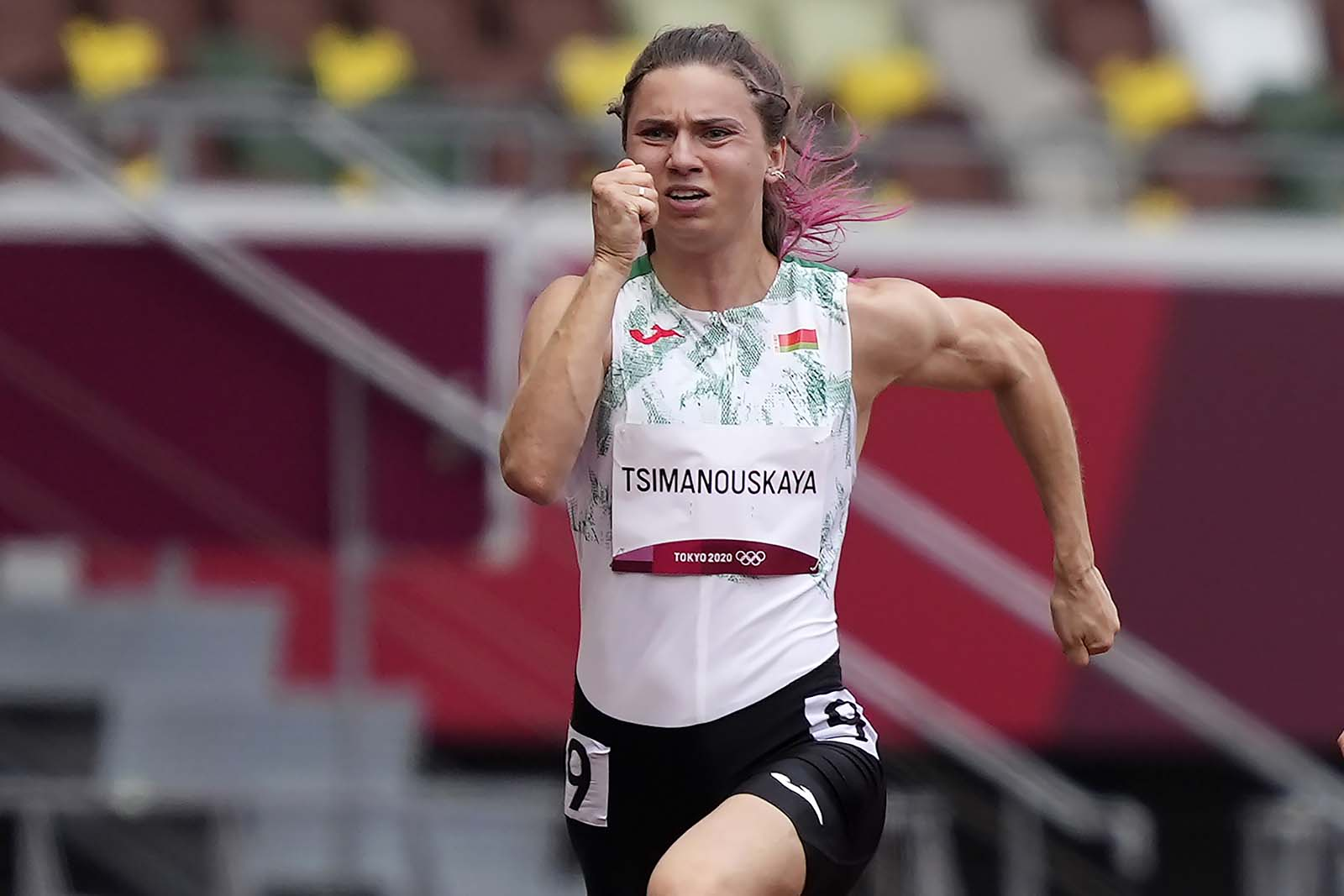 KristinaTimanovskaya of Belarus is pictured running in the women's 100m competition on Friday, July 30.