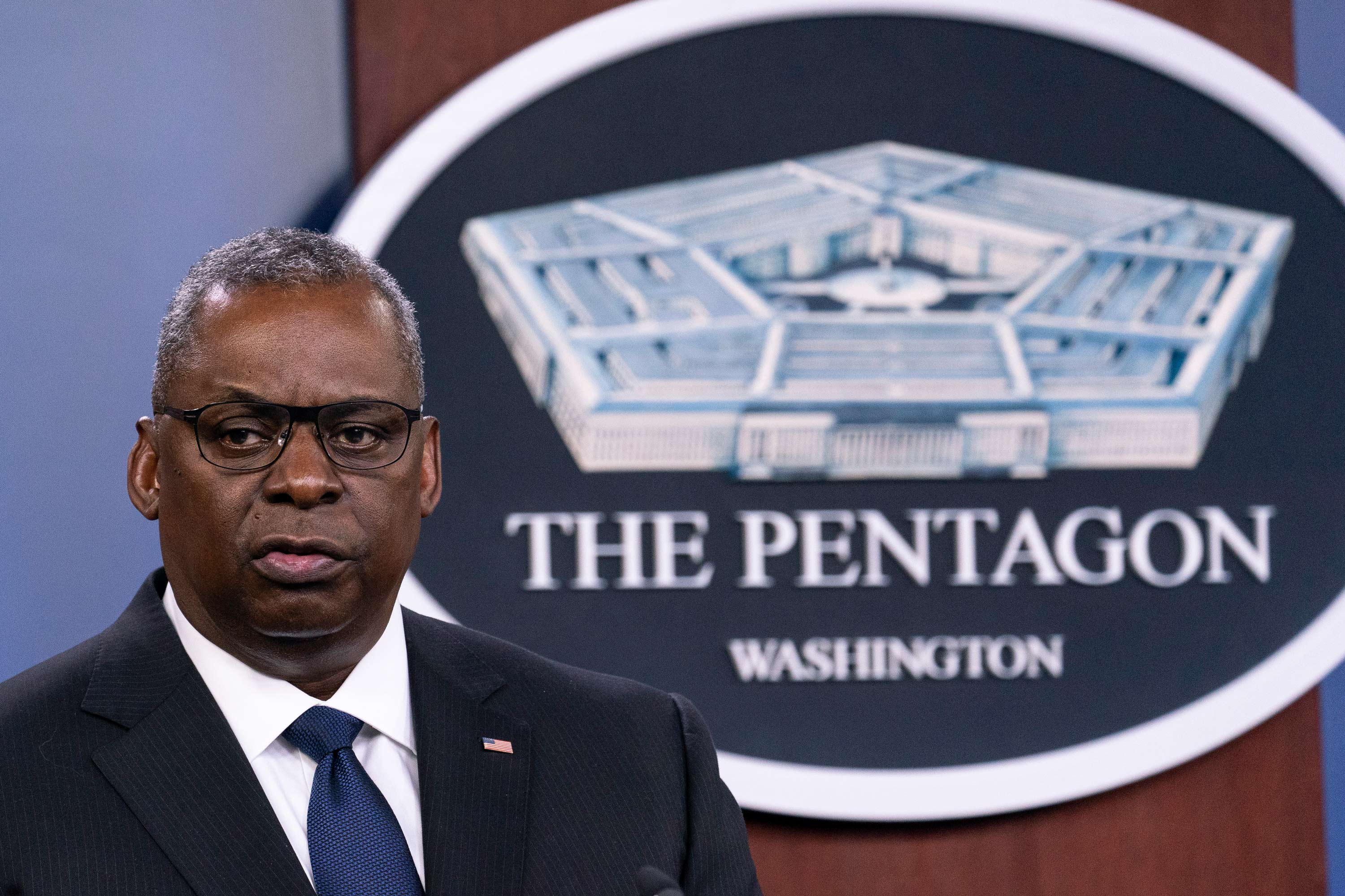 Secretary of Defense Lloyd Austin speaks during a media briefing at the Pentagon on August 18 in Washington, DC.