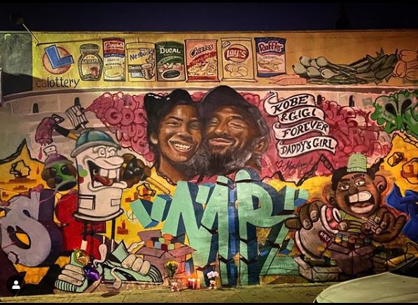 The mural of Kobe and Gigi Bryant. Credit: Erika Schweizer