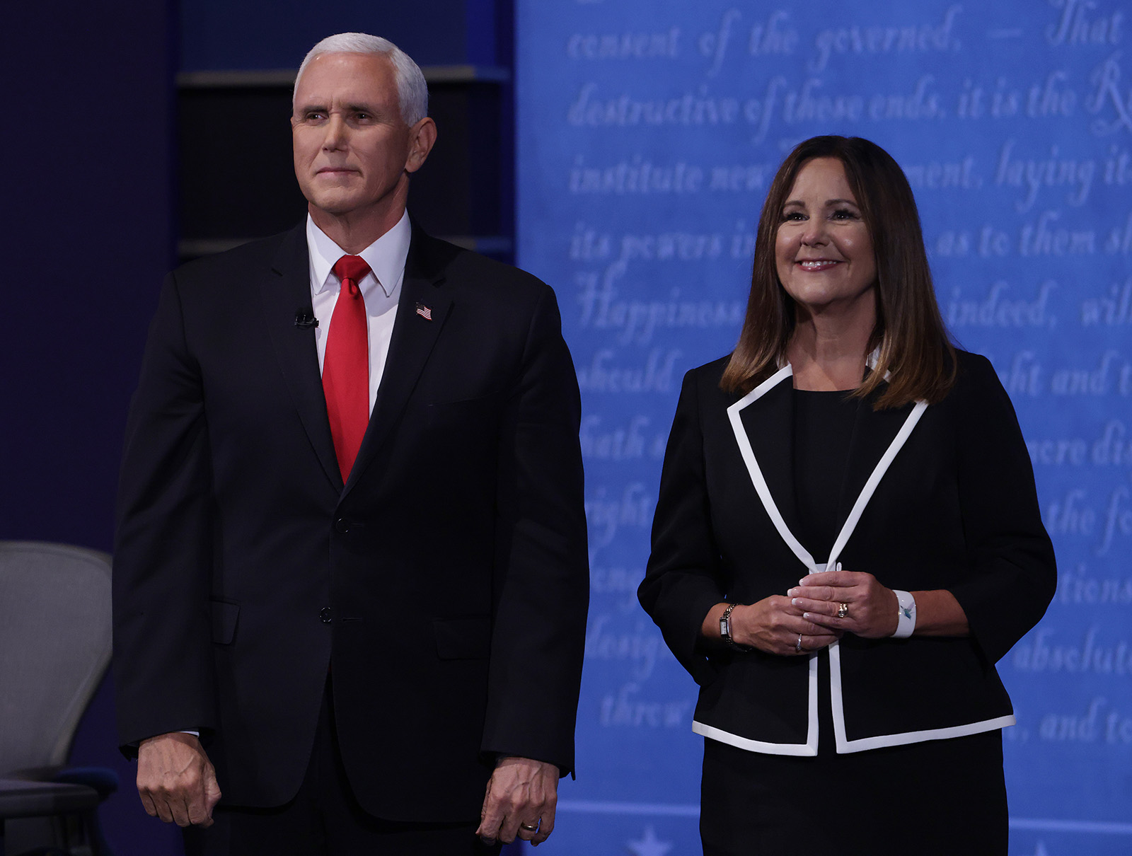 Vice President Mike Pence and wife Karen Pence appear on stage after the vice presidential debate against Democratic vice presidential nominee Sen. Kamala Harris a the University of Utah on Wednesday in Salt Lake City.