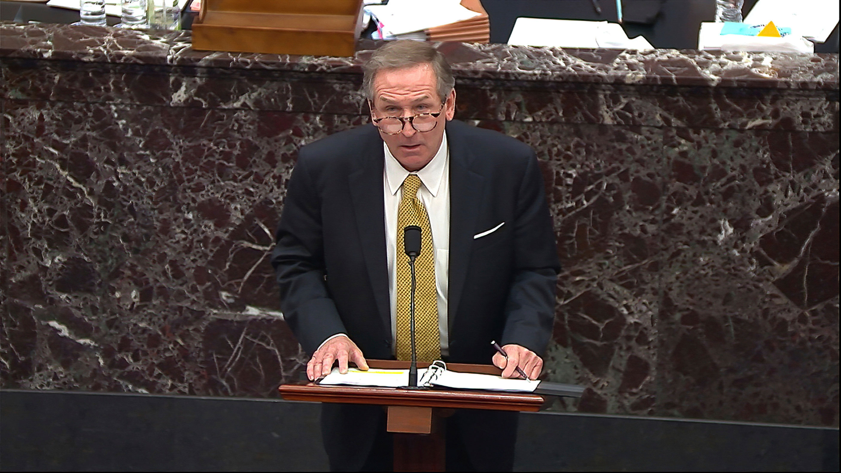 Michael van der Veen, an attorney for former President Donald Trump, speaks at the Capitol during Trump's second impeachment trial on February 12.