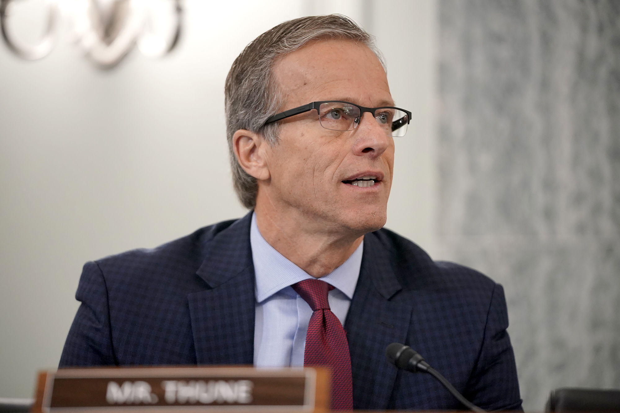 Sen. John Thune asks questions during a hearing on October 28 in Washington, DC.