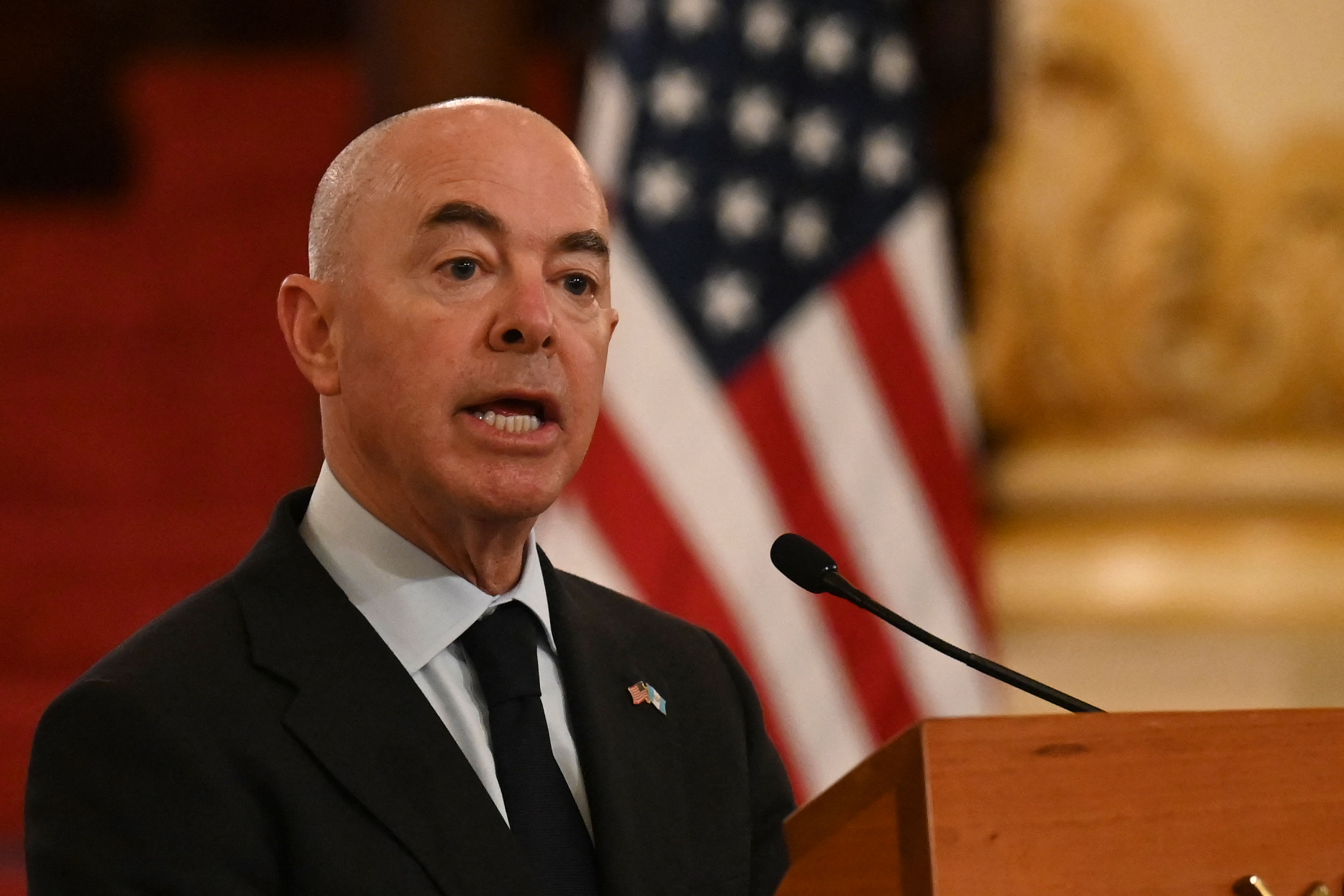Department of Homeland Security Secretary Alejandro Mayorkas speaks during a press conference on Tuesday, July 6.