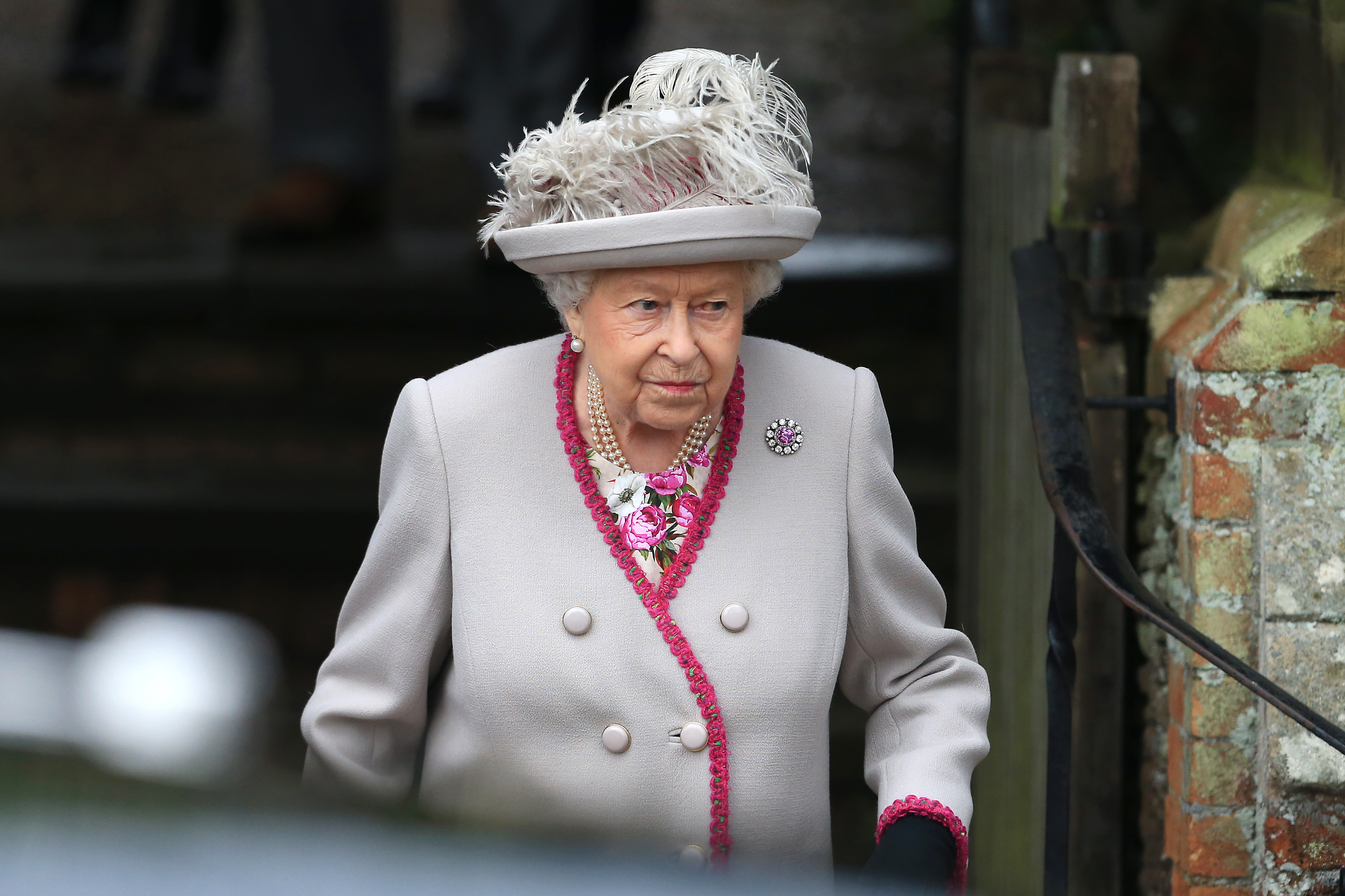 Queen Elizabeth II departs the Christmas Day Church service at on the Sandringham estate on December 25, 2018 in King's Lynn, England.