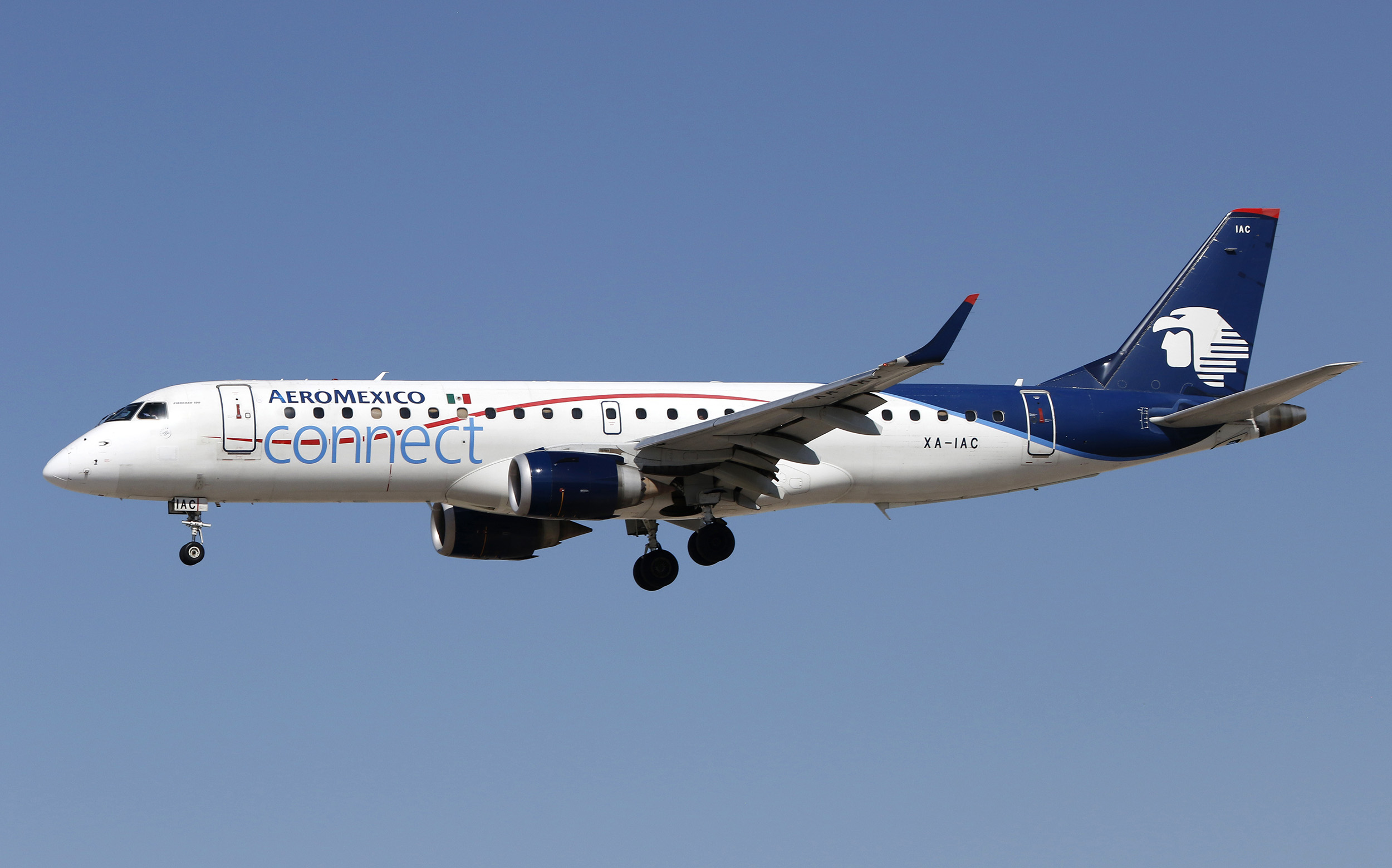 An Embraer 190 regional jetliner, belonging to AeroMexico Connect, lands at McCarran International Airport in Las Vegas, on Feb. 27.