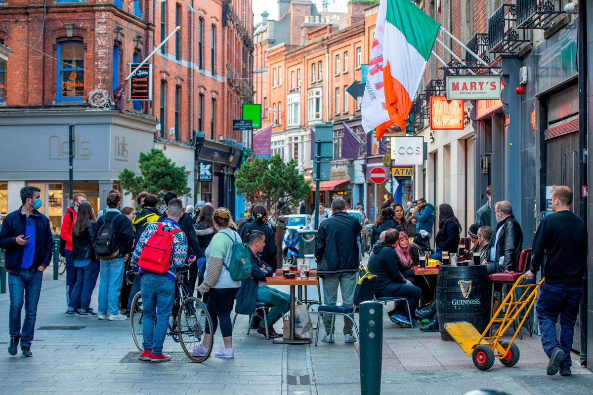 People are out and about on Grafton Street in Dublin on October 21 as Ireland prepares to enter a second national lockdown to stem the spread of the coronavirus.