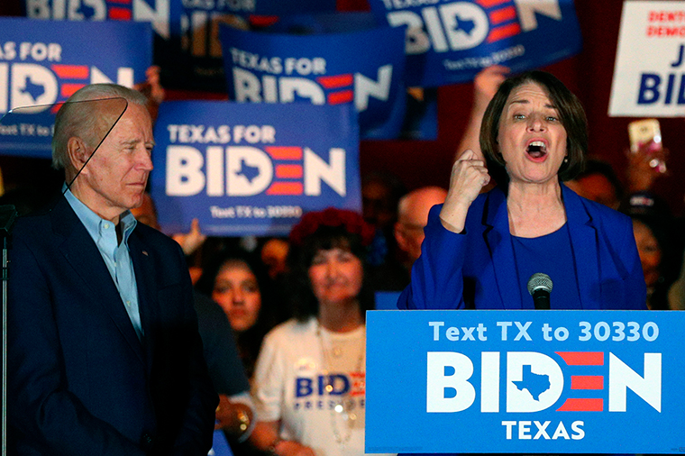 Klobuchar  endorses Biden at a campaign rally Monday, March 2, in Dallas.