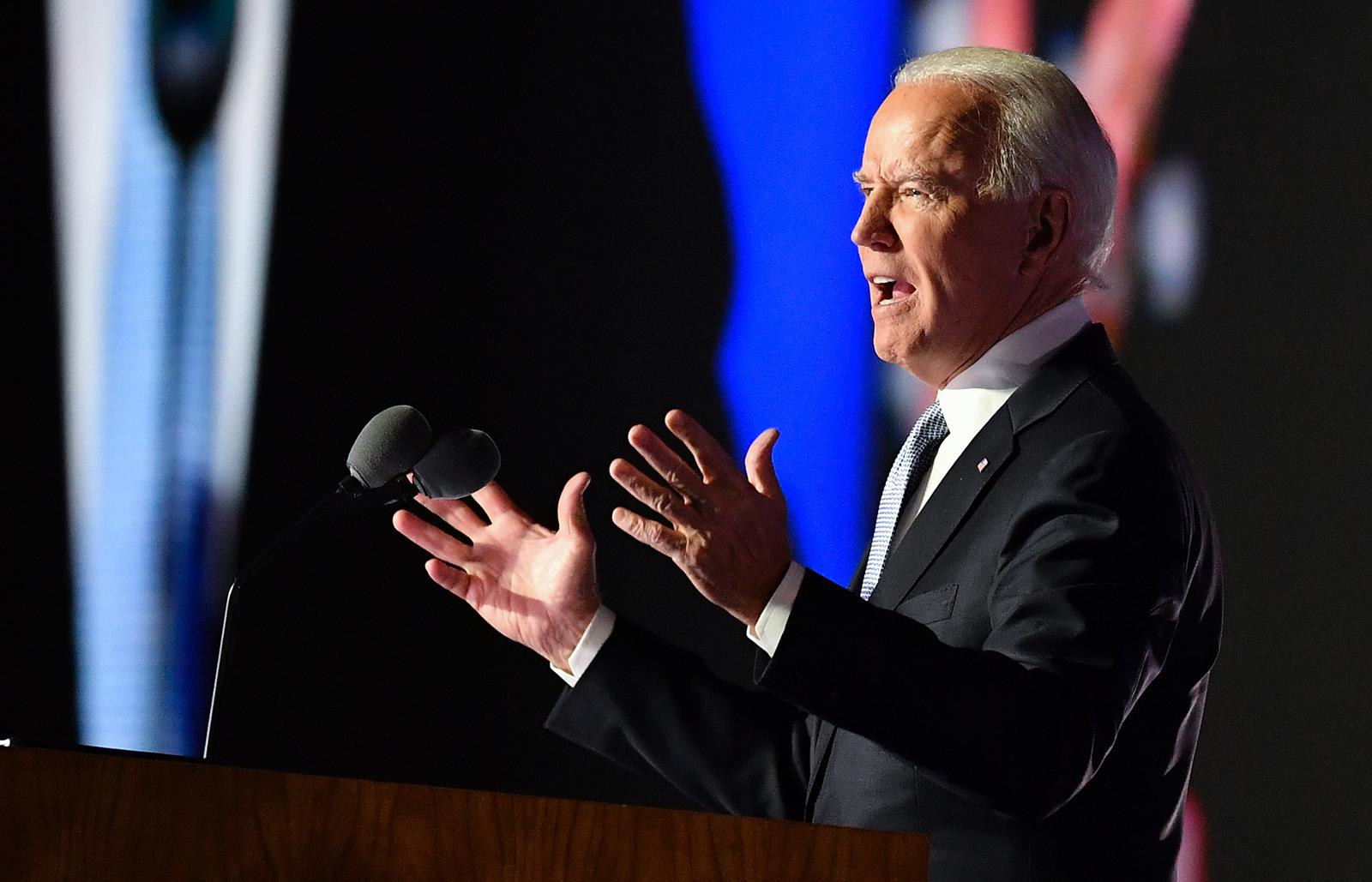 US President-elect Joe Biden delivers remarks in Wilmington, Delaware, on November 7.