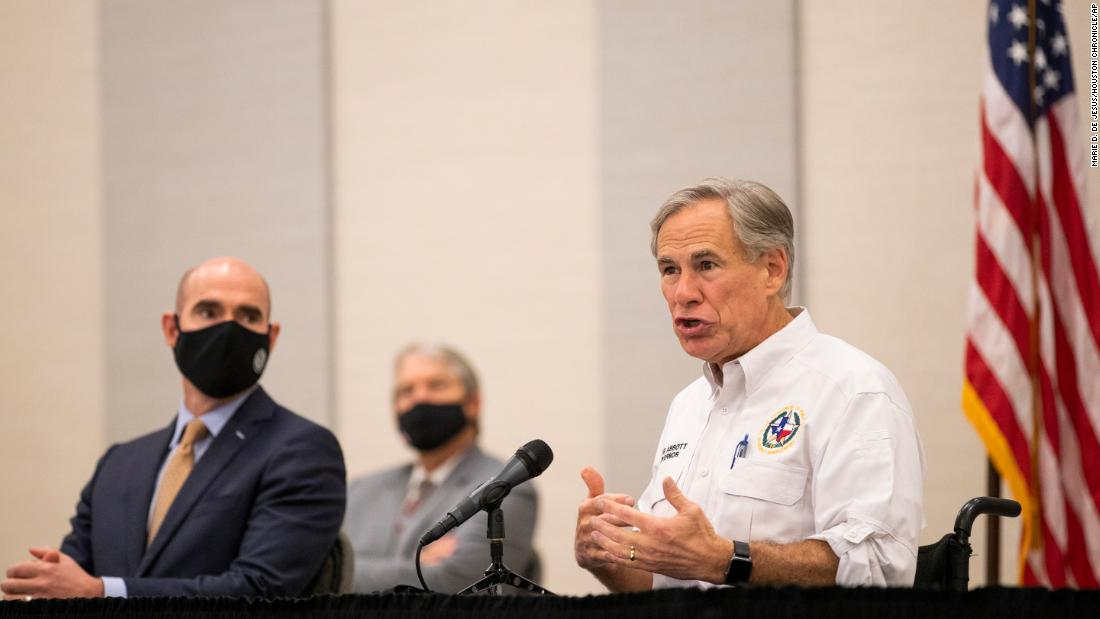 Texas Gov. Greg Abbott speaks during a visit to Lake Jackson, Texas on Tuesday, Sept. 29, 2020.