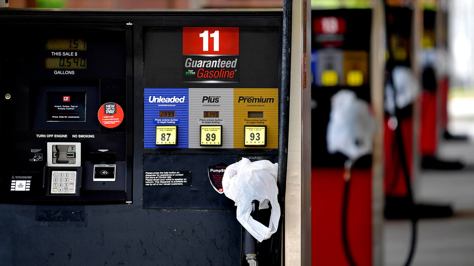 A QuickTrip connivence store has bags on their pumps as the station has no gas on Tuesday, May 11, in Kennesaw, Georgia.